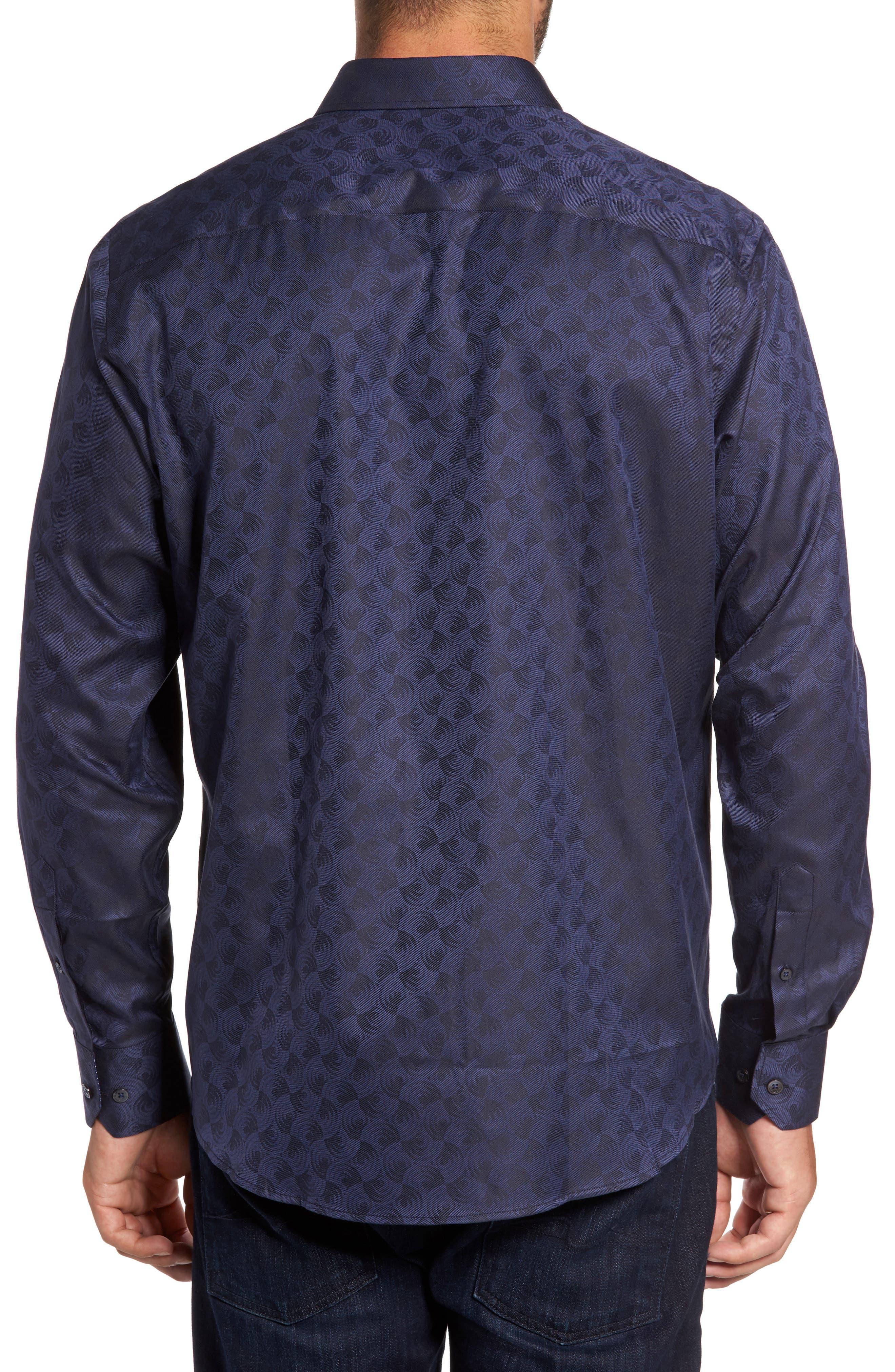 Classic Fit Swirl Print Sport Shirt,                             Alternate thumbnail 2, color,                             410
