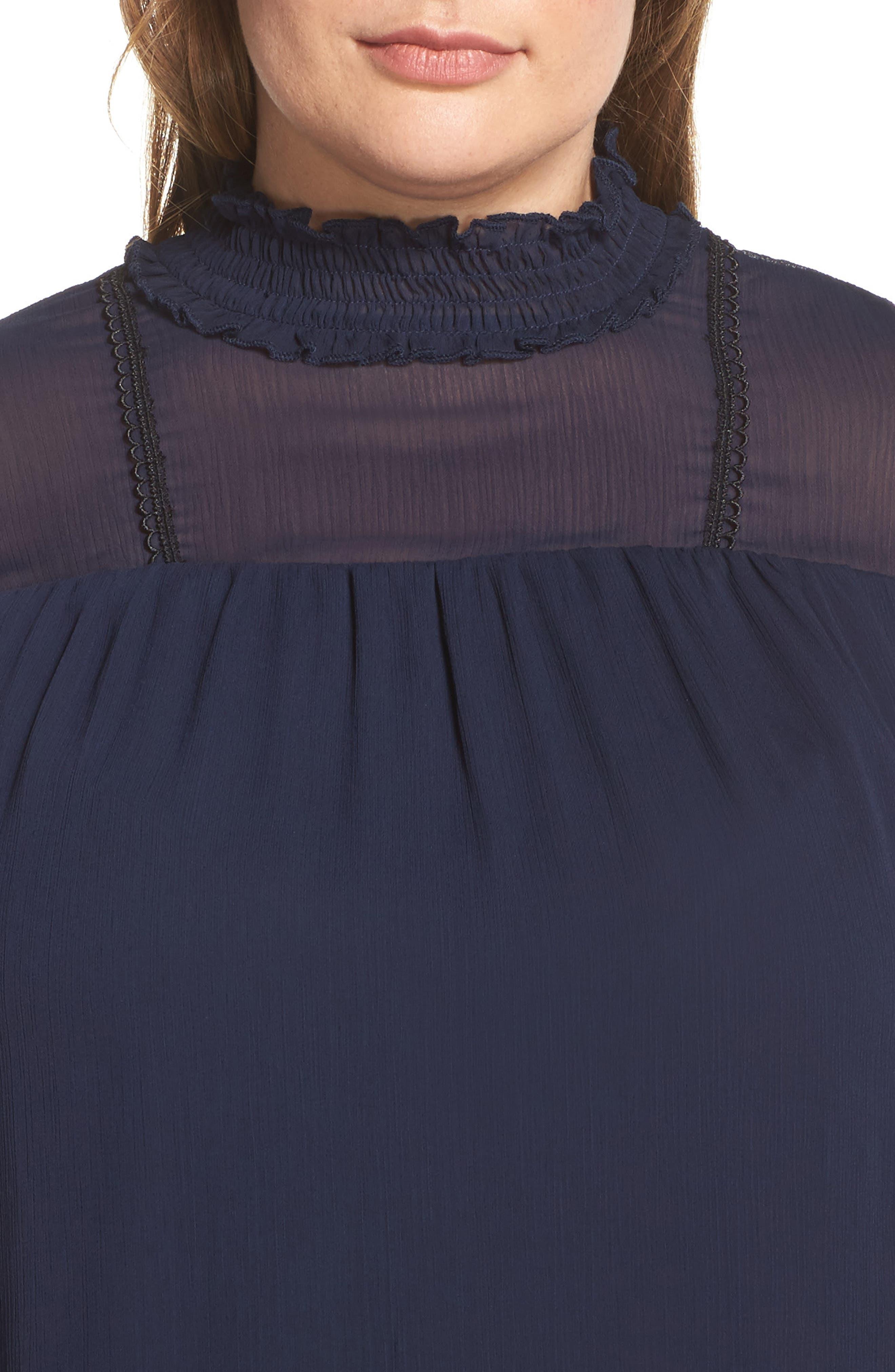 Lace Trim Babydoll Top,                             Alternate thumbnail 4, color,                             401