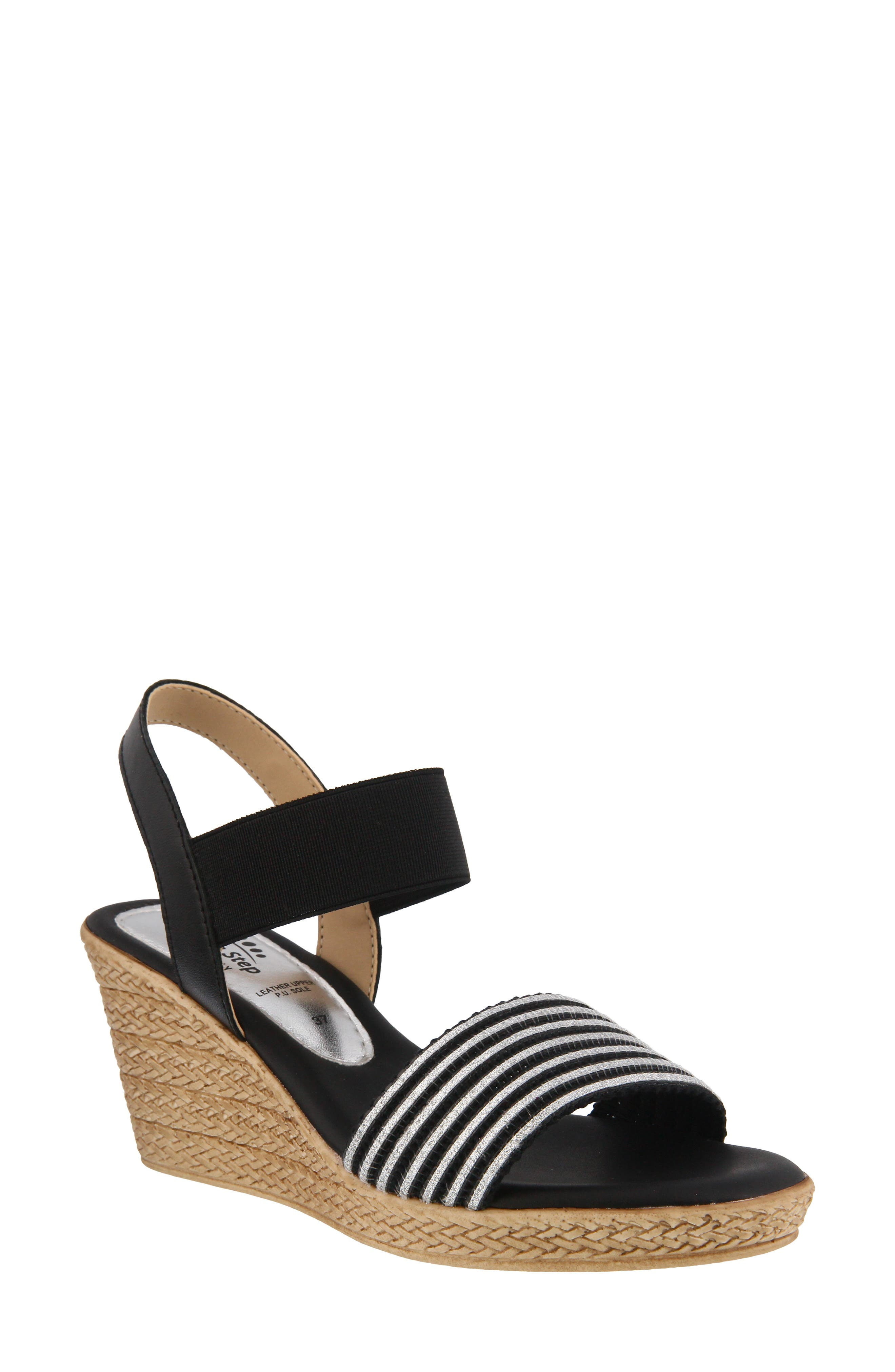 Rahma Wedge Sandal, Main, color, BLACK LEATHER