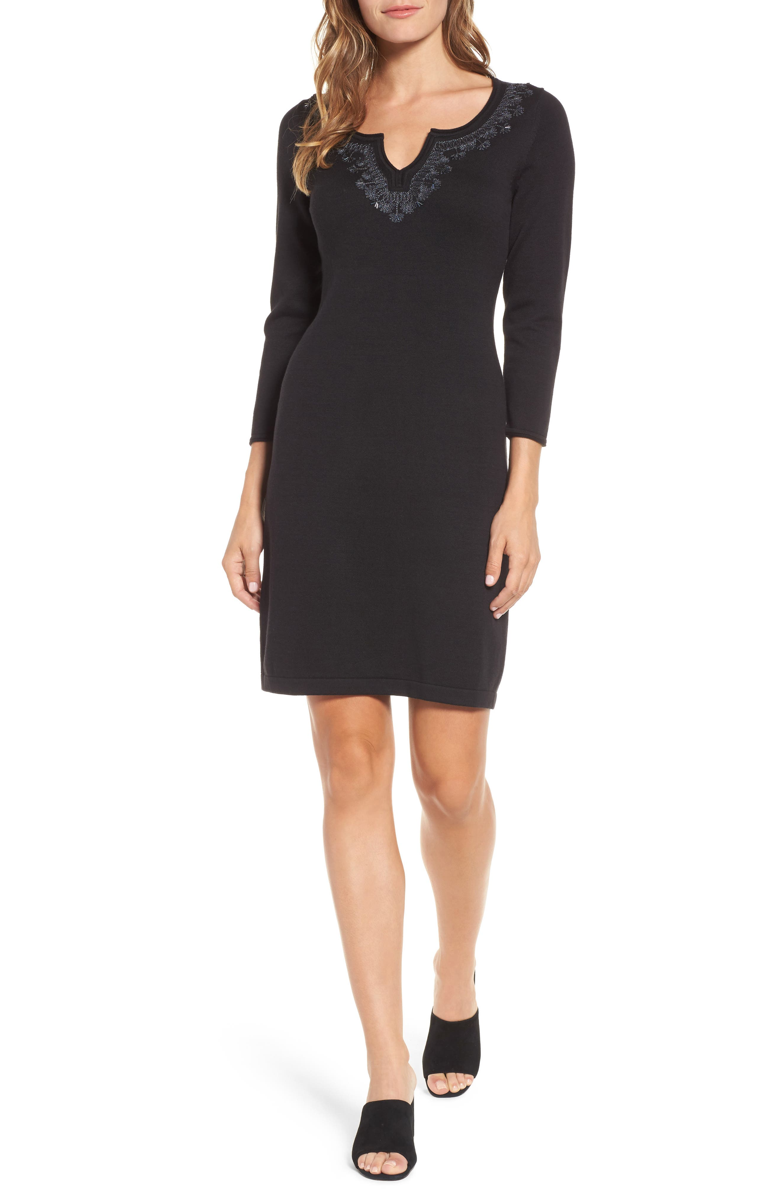 Pickford Embellished Sweater Dress,                             Main thumbnail 1, color,                             BLACK