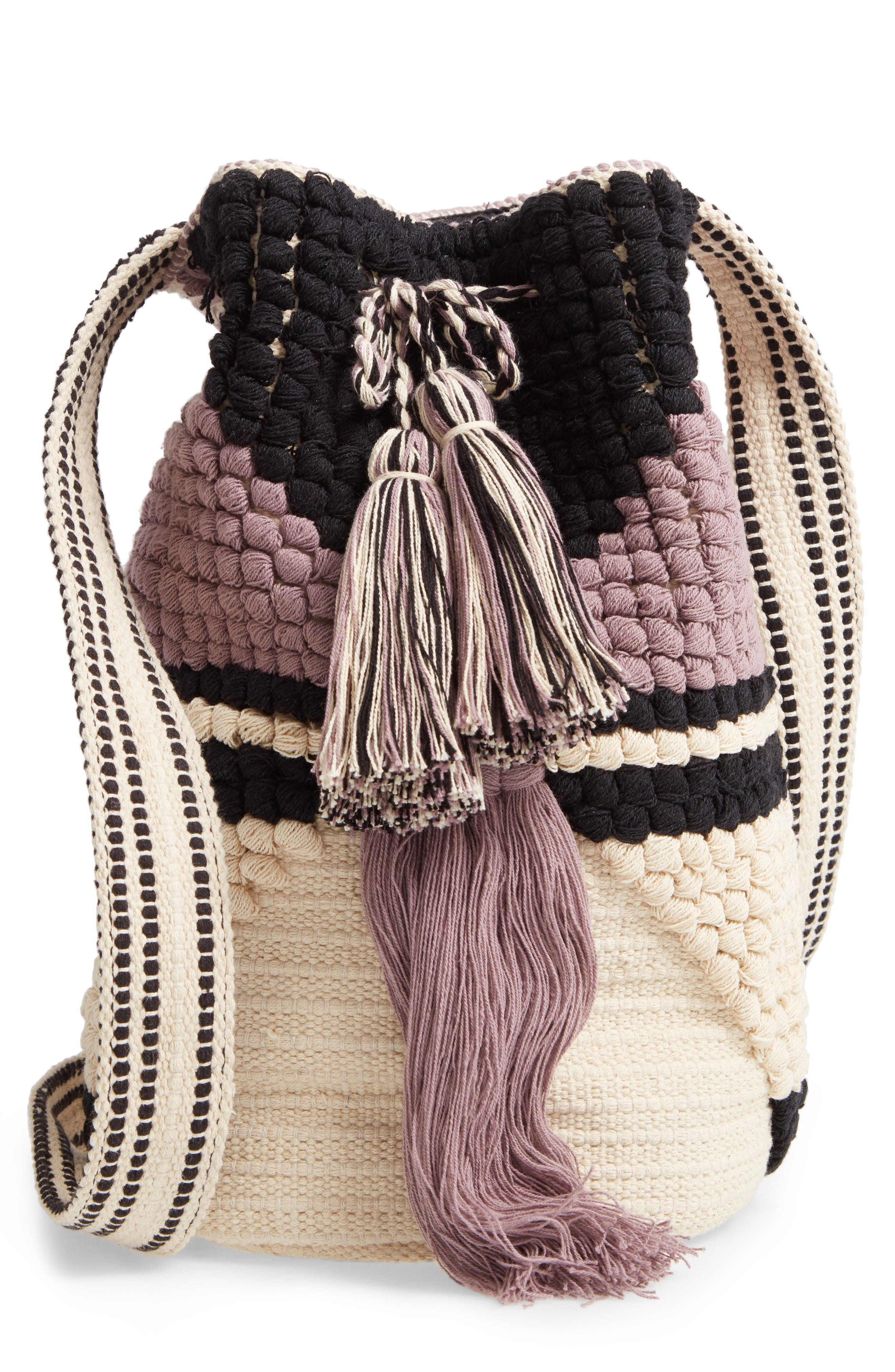 Halay Woven Bucket Bag, Main, color, BLACK/ CREAM