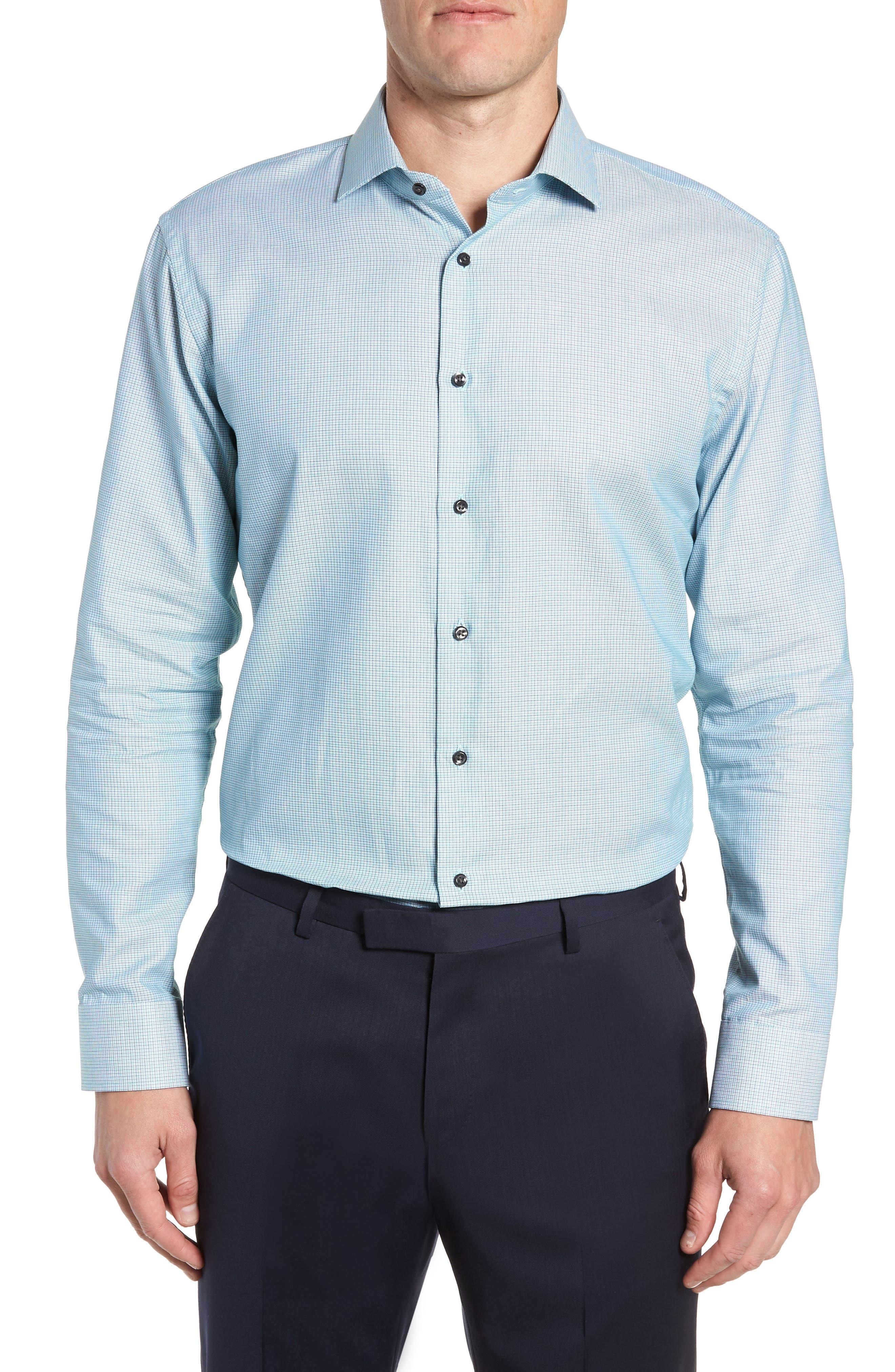 Trim Fit Check Dress Shirt,                             Main thumbnail 1, color,                             GREEN GOLF