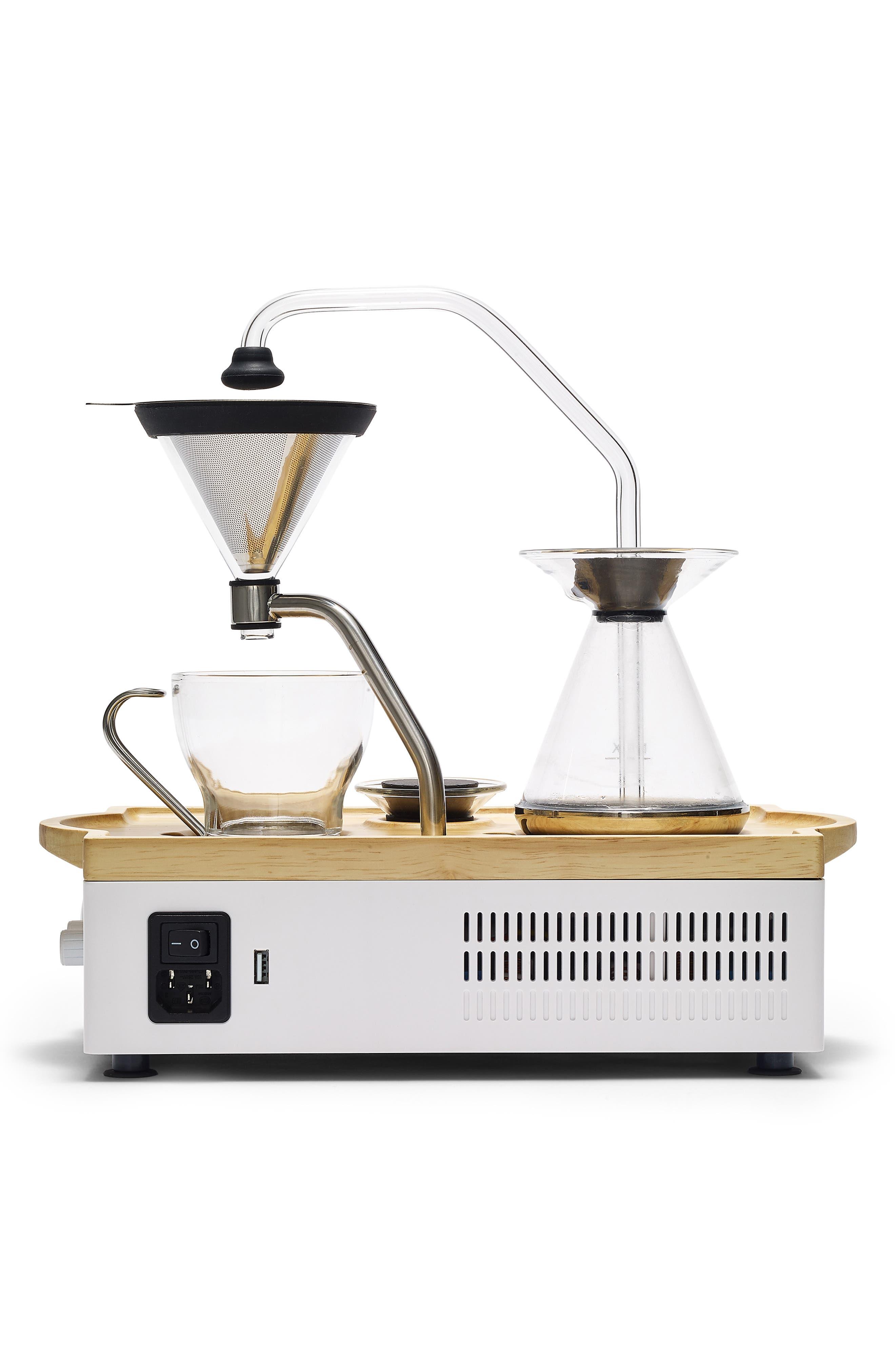 Soda Says x Barisieur Coffee & Tea Alarm Clock,                             Alternate thumbnail 2, color,                             WHITE/ RUBBERWOOD