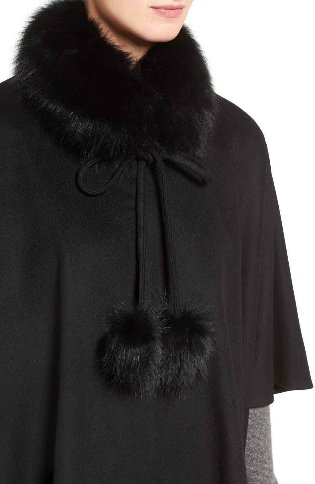 Genuine Fox Fur Collar Cashmere Cape,                             Alternate thumbnail 4, color,                             001