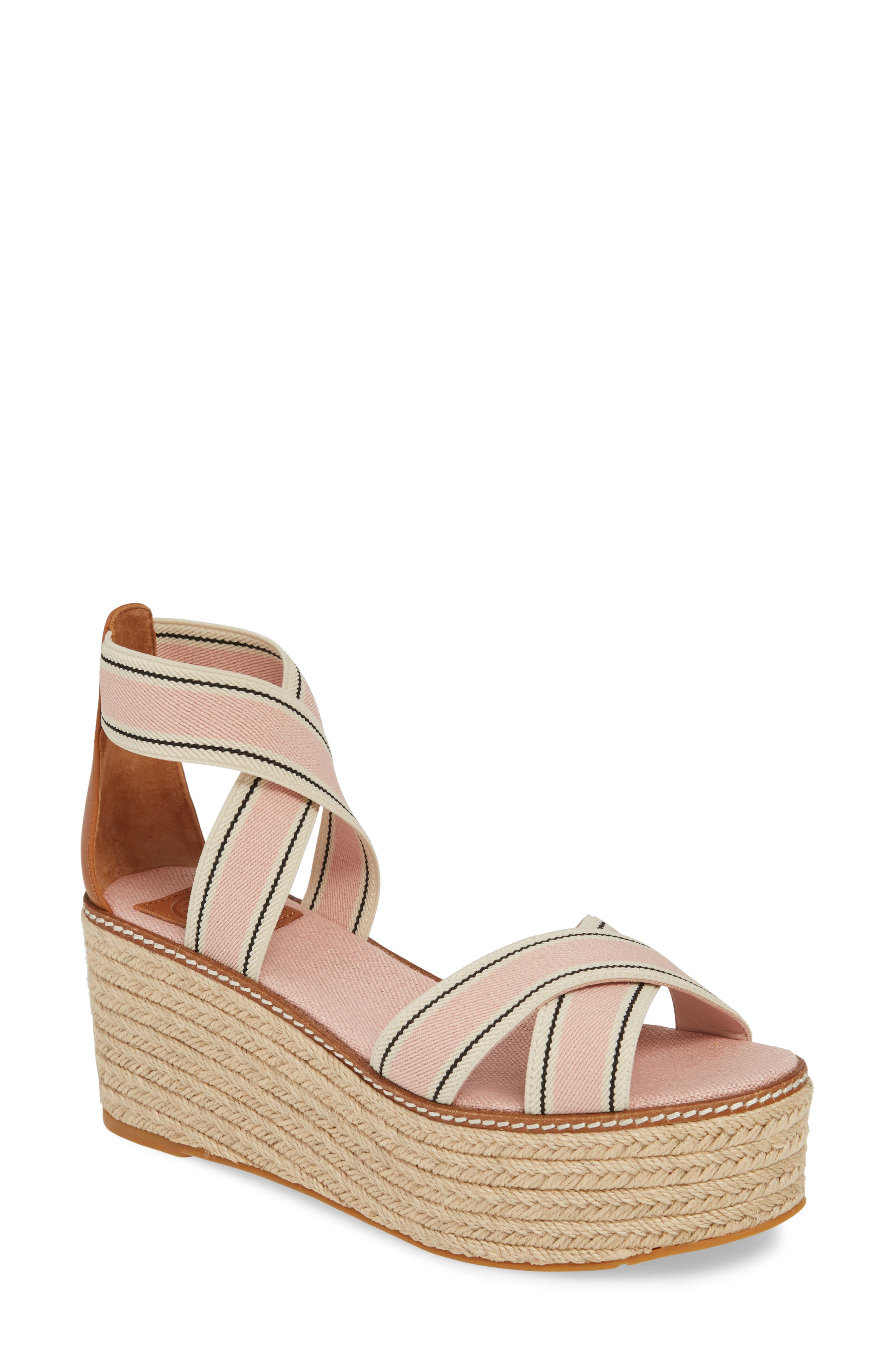 Tory Burch Frieda Espadrille Platform Sandal- Pink