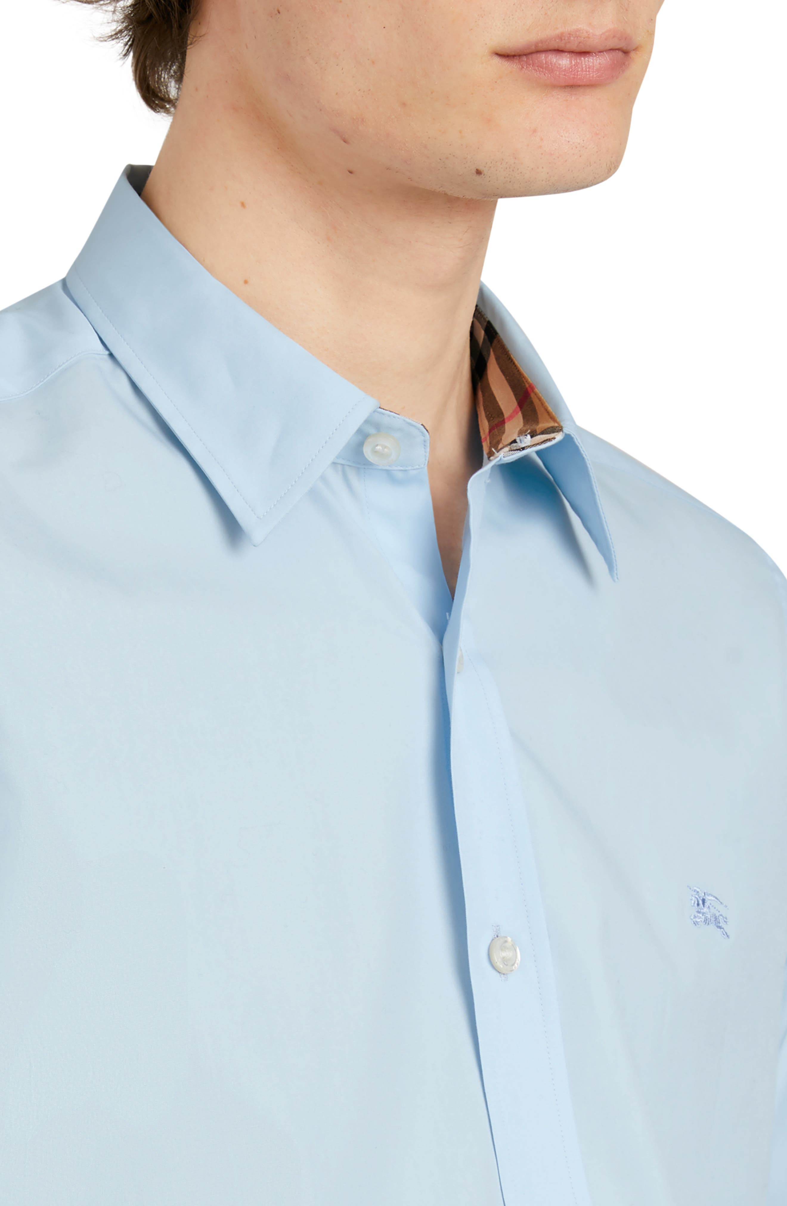 BURBERRY,                             William Stretch Poplin Sport Shirt,                             Alternate thumbnail 2, color,                             PALE BLUE
