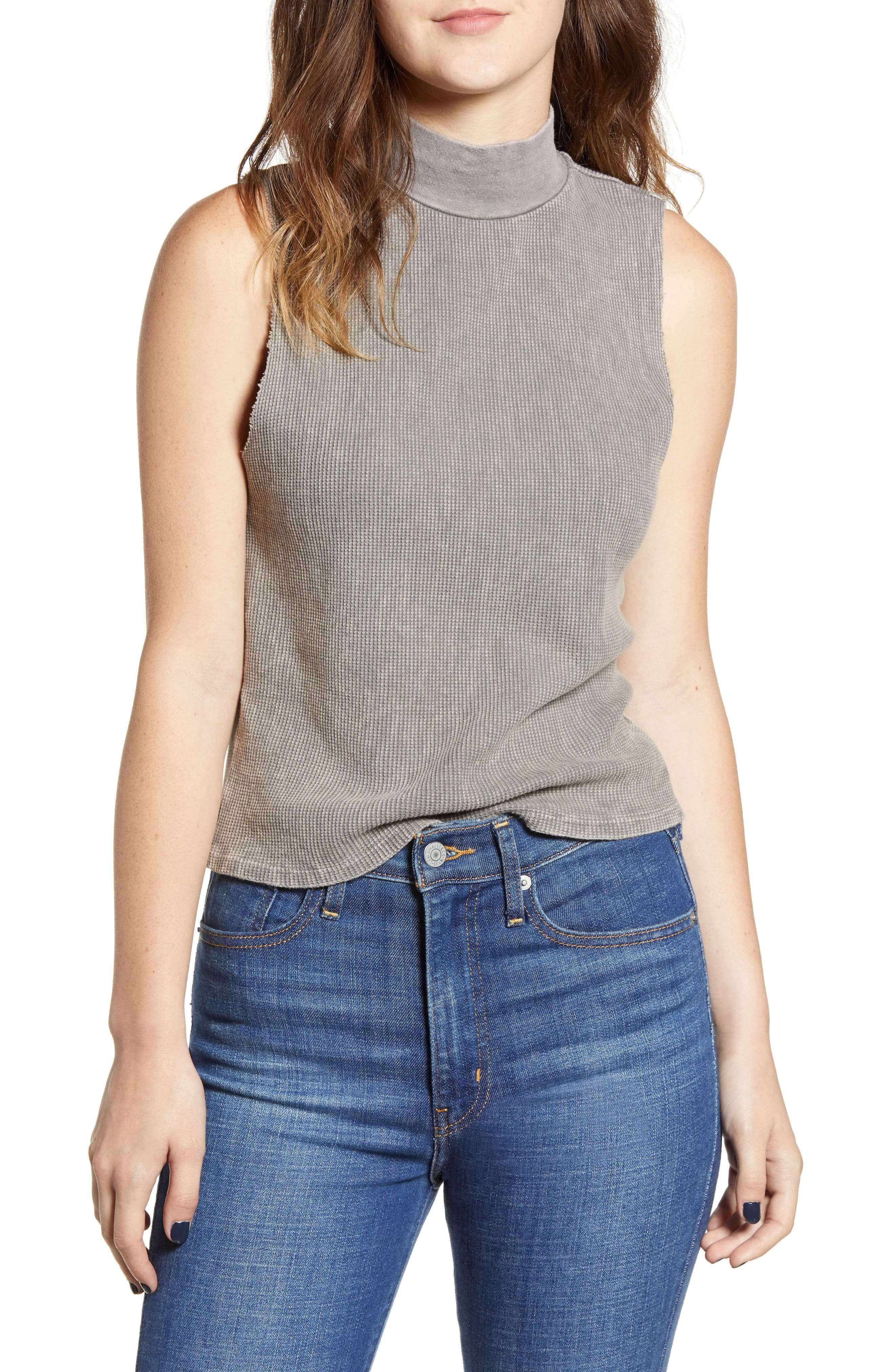Annie Thermal Sleeveless Mock Neck Top,                             Main thumbnail 1, color,                             MW SMOKY NOIR