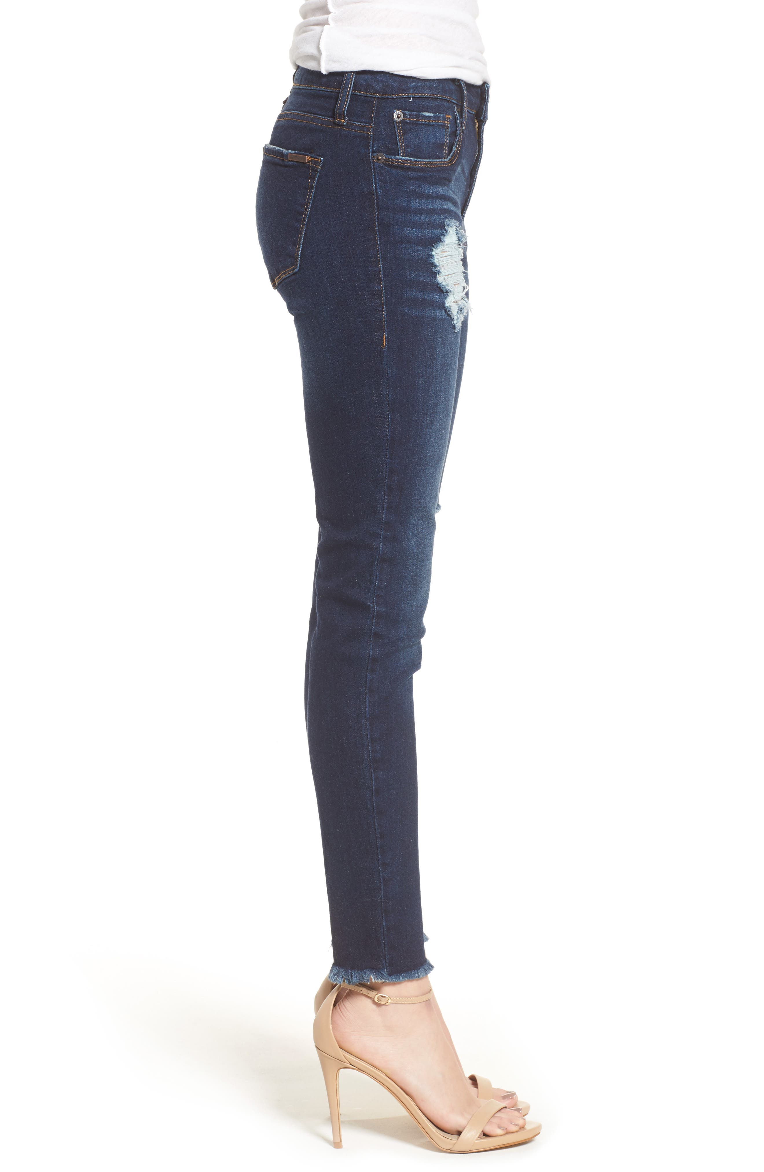 Emma Frayed Hem Ankle Skinny Jeans,                             Alternate thumbnail 3, color,                             400