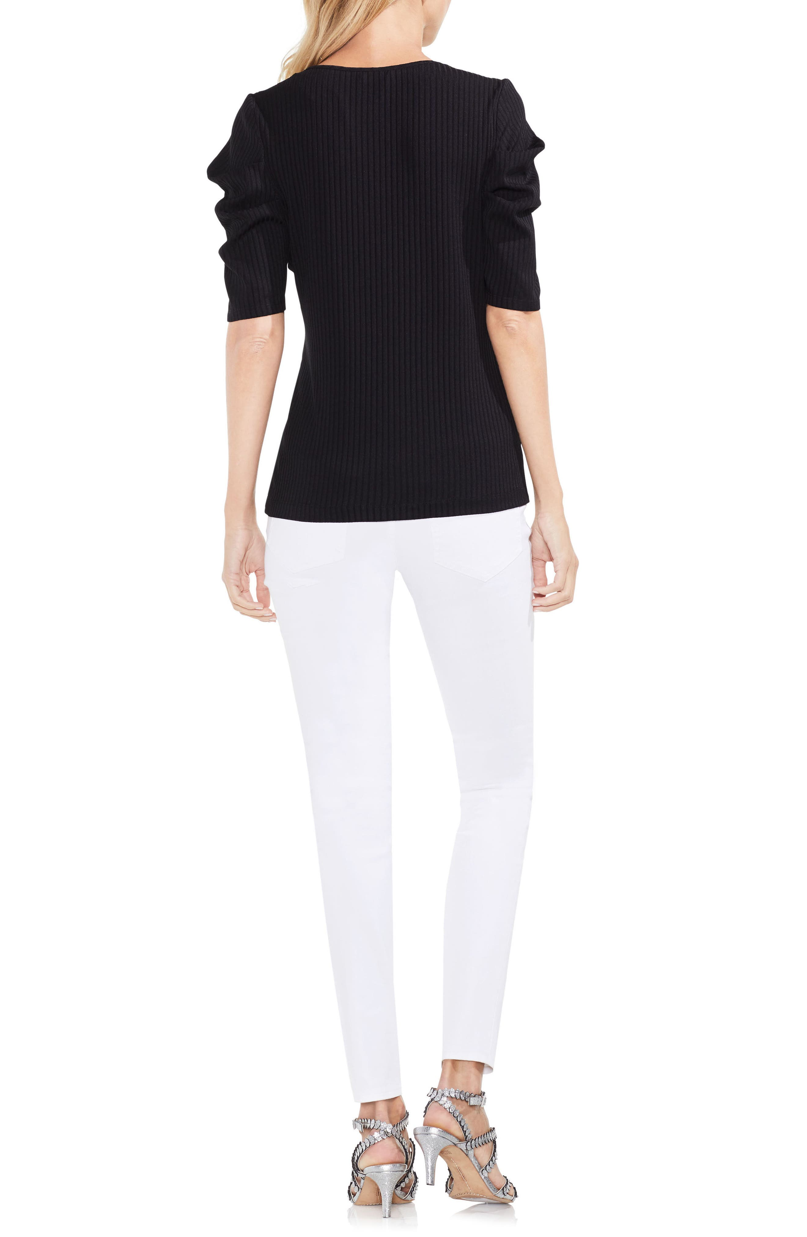 Draped Sleeve Ribbed Tee,                             Alternate thumbnail 9, color,