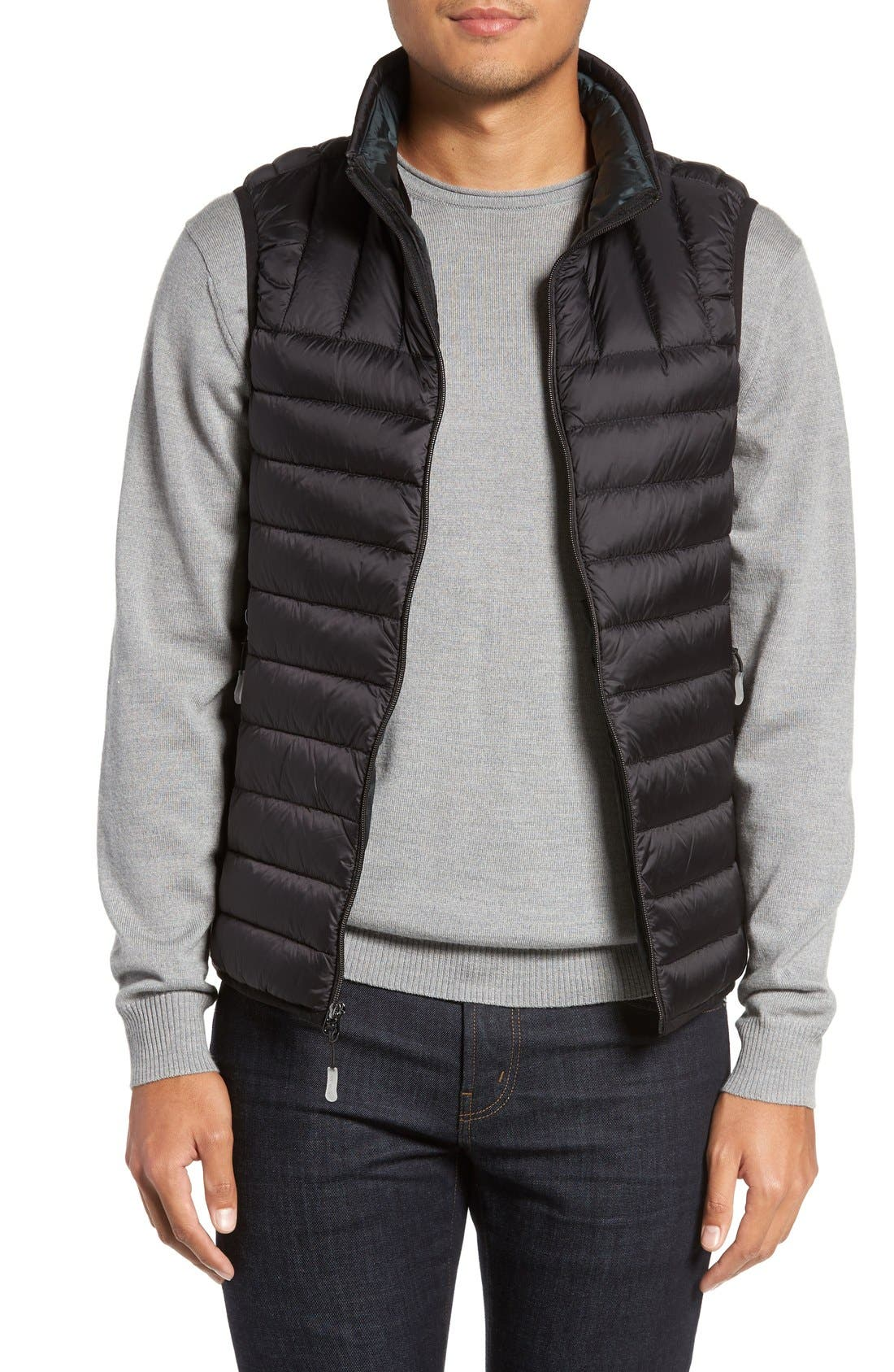 Packable Down Vest,                         Main,                         color, BLACK