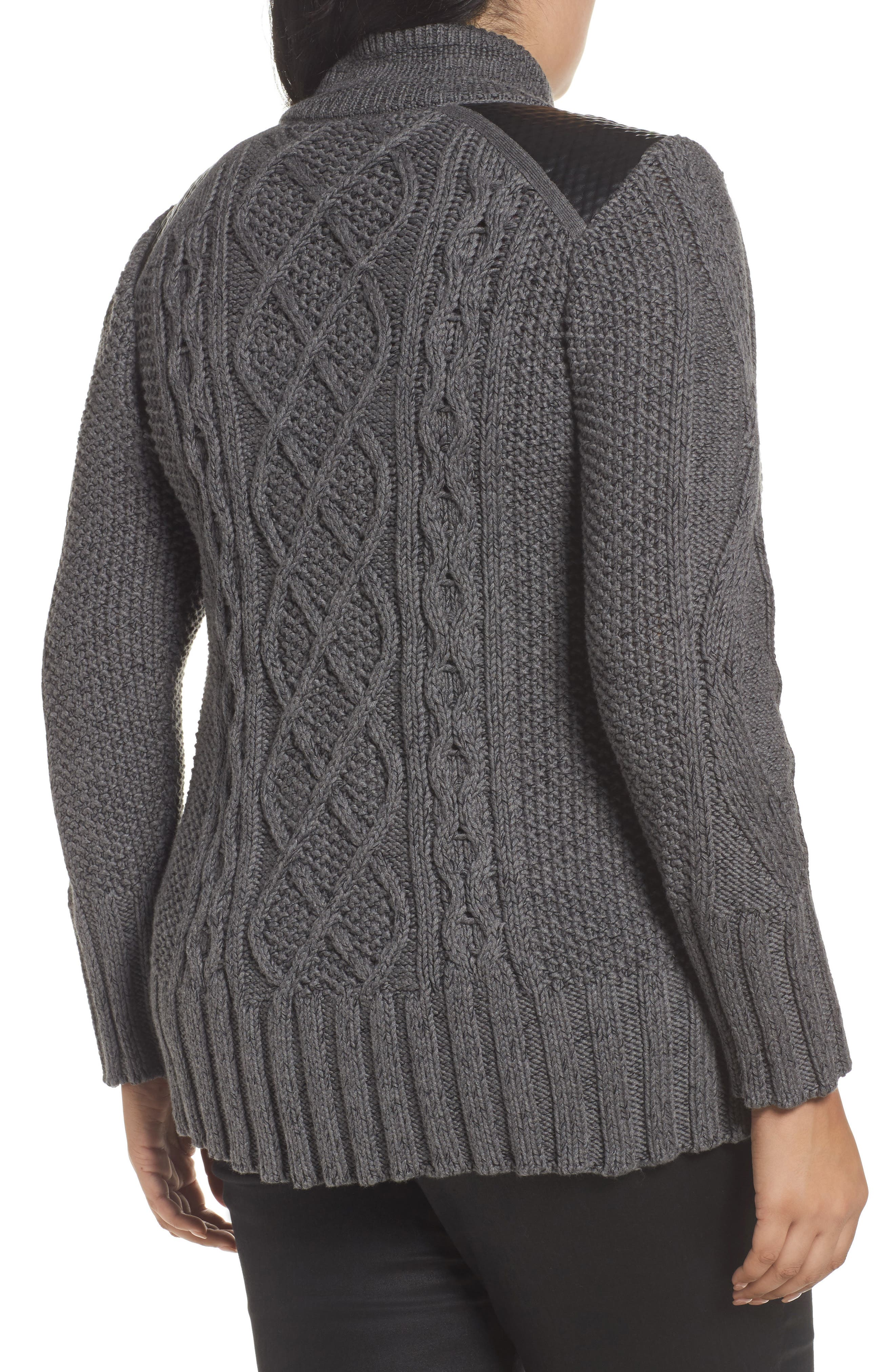 Cable Knit & Leather Jacket,                             Alternate thumbnail 2, color,                             020
