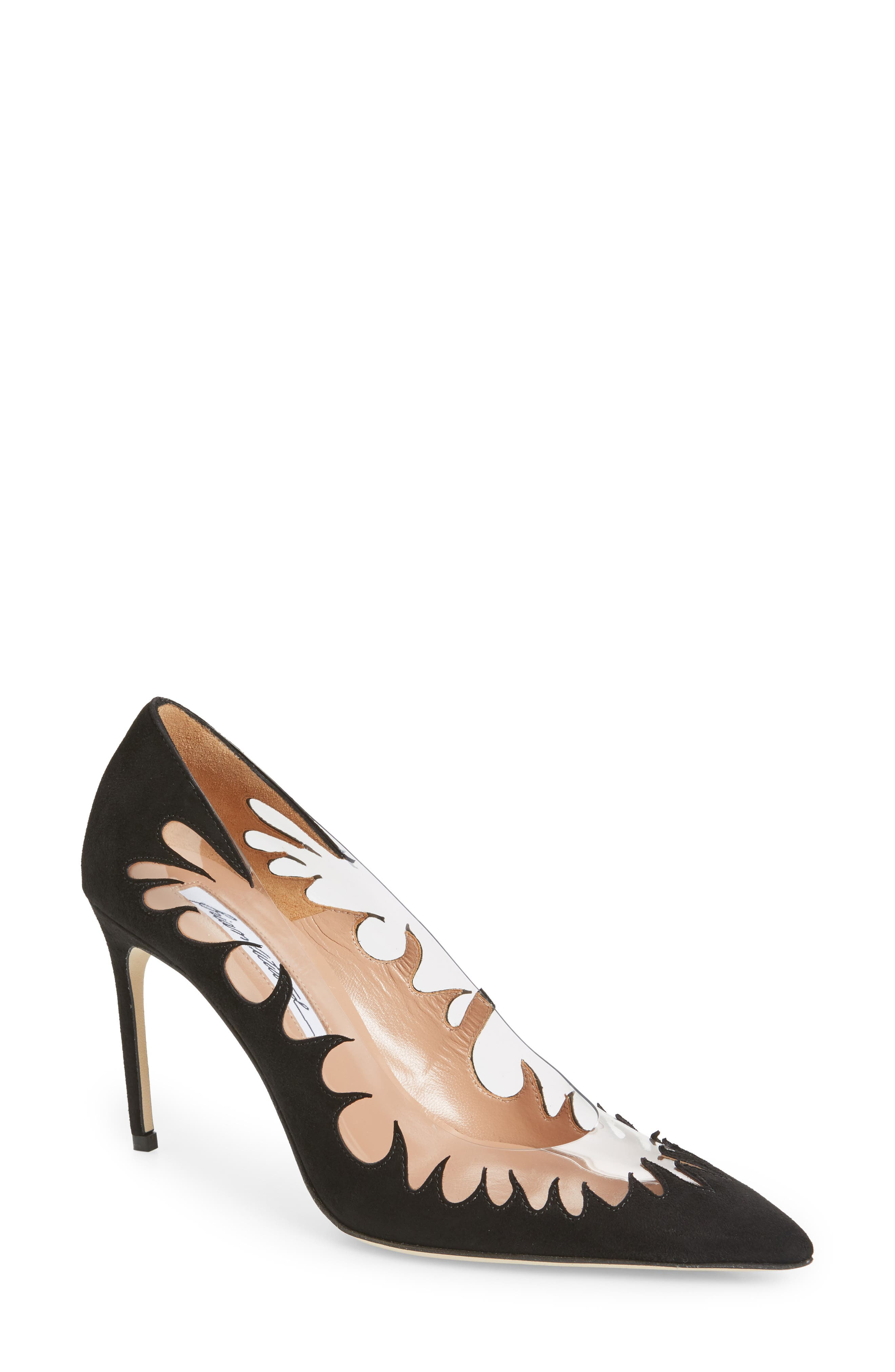 BRIAN ATWOOD Women'S Victory Suede Cutout Pointed Toe Pumps in Black Suede