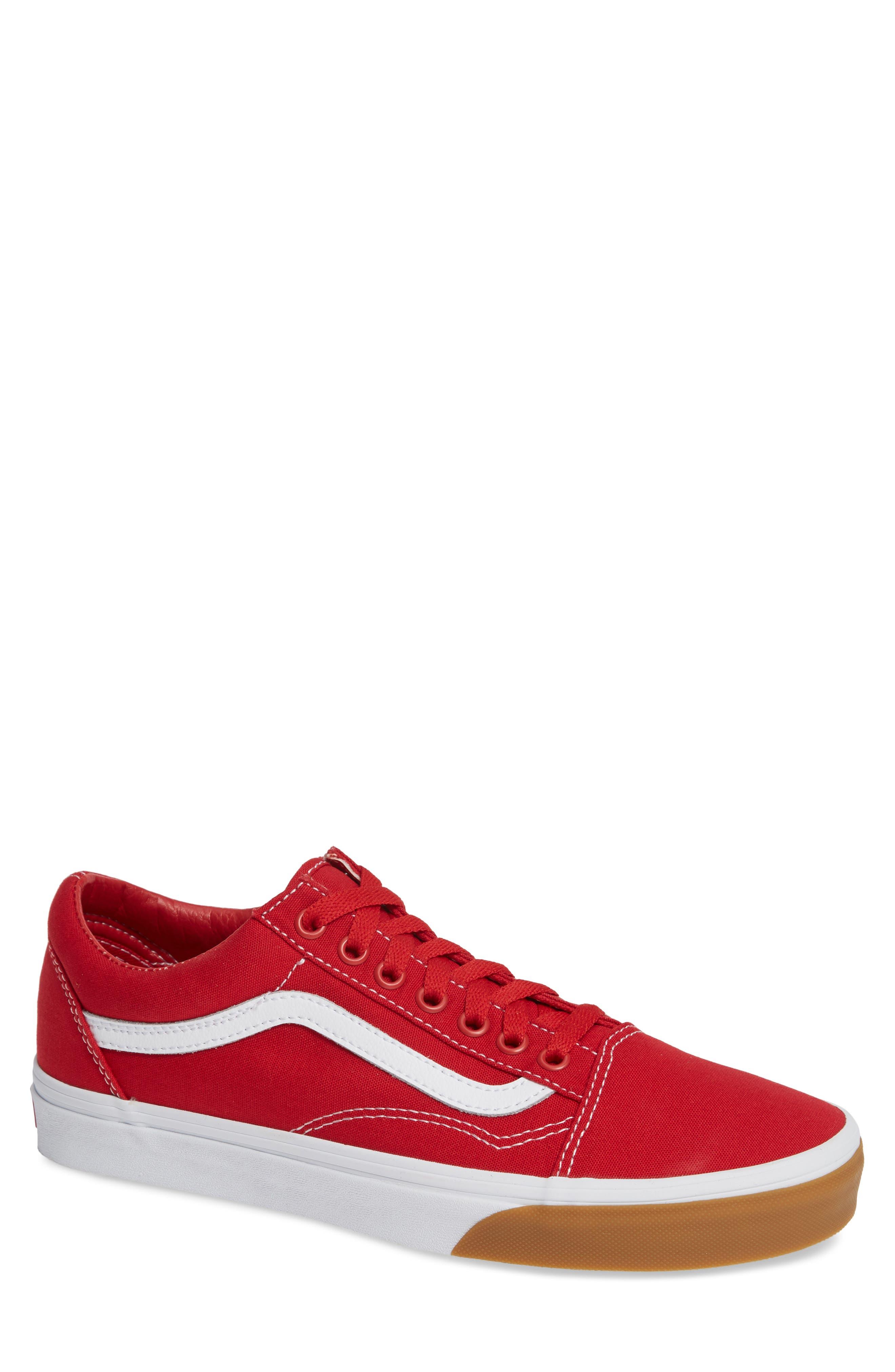 VANS Gum Old Skool Sneaker, Main, color, RED/ TRUE WHITE