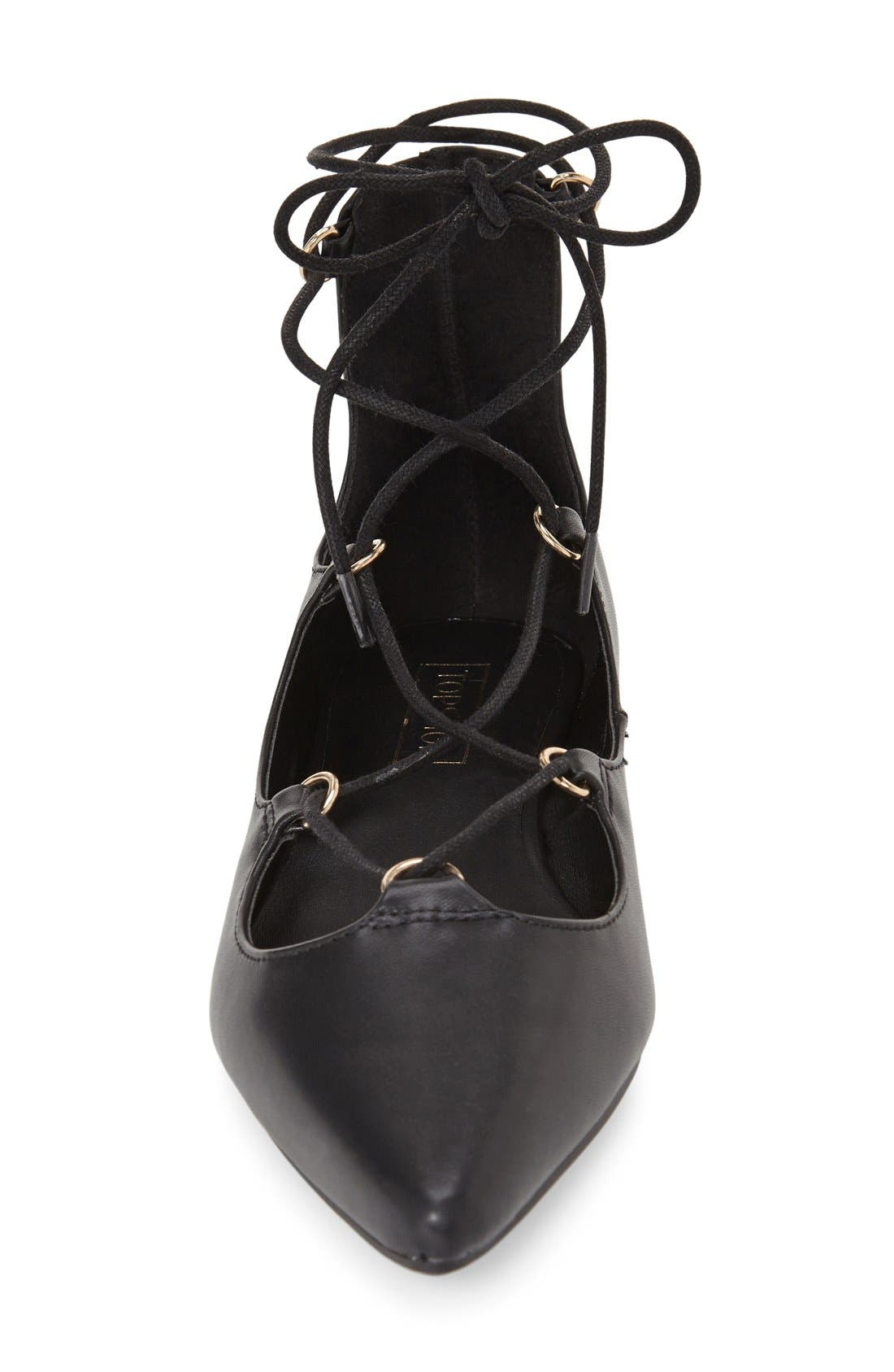 TOPSHOP,                             'Fancy' Pointy Toe Ghillie Flat,                             Alternate thumbnail 3, color,                             001