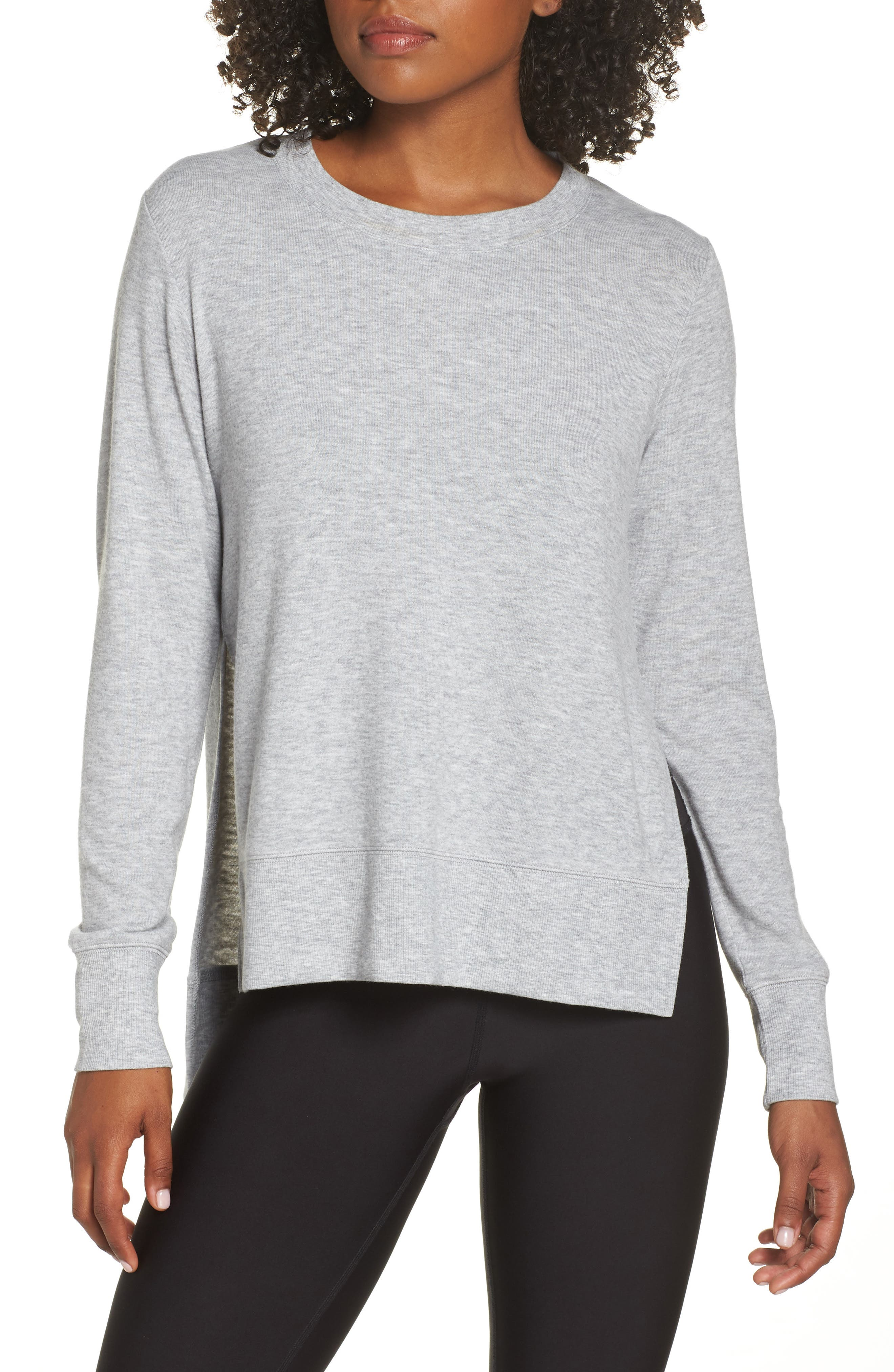 'Glimpse' Long Sleeve Top,                         Main,                         color, DOVE GREY HEATHER