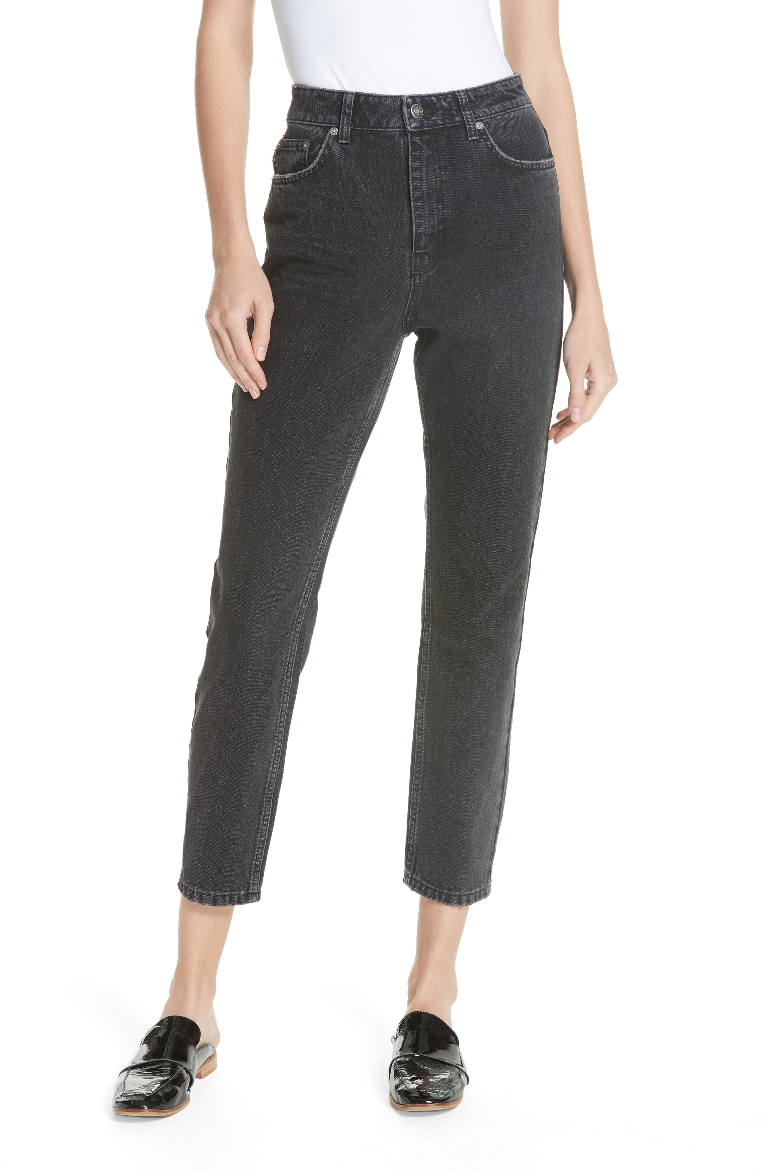 We the Free by Free People Mom Jeans,                         Main,                         color, BLACK