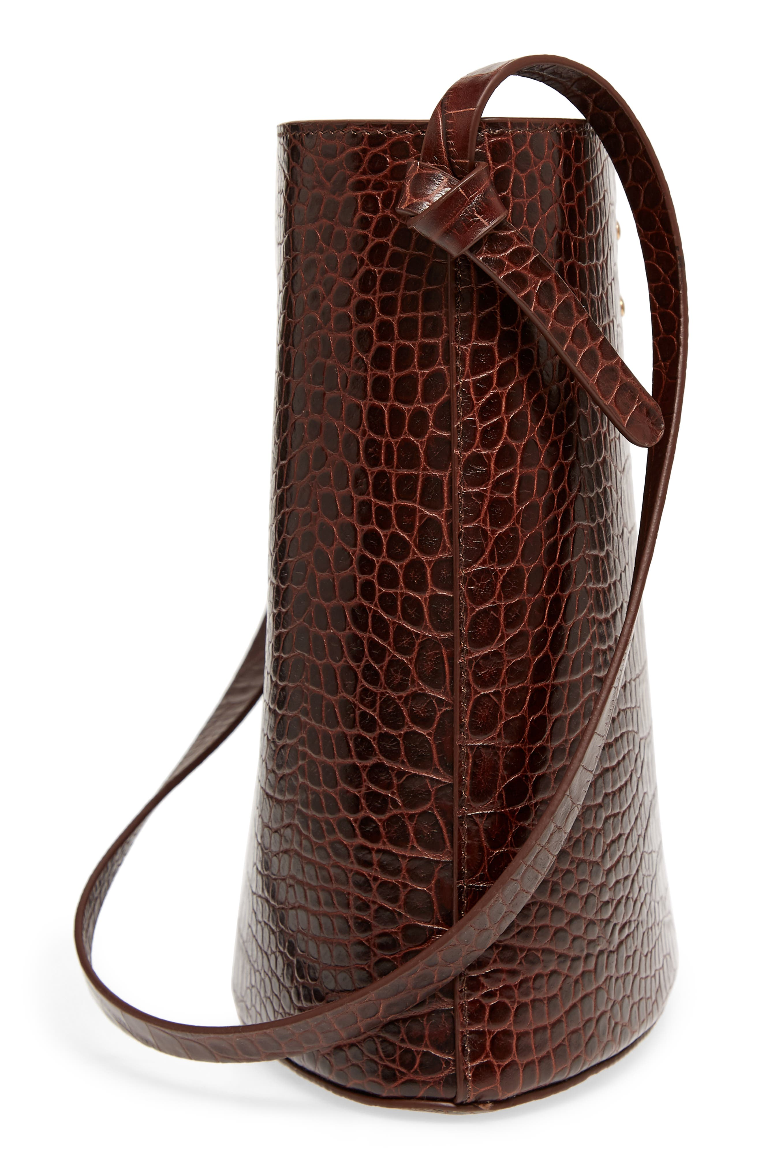 Sybil Croc Embossed Leather Tote,                             Alternate thumbnail 5, color,                             CHOCOLATE BROWN