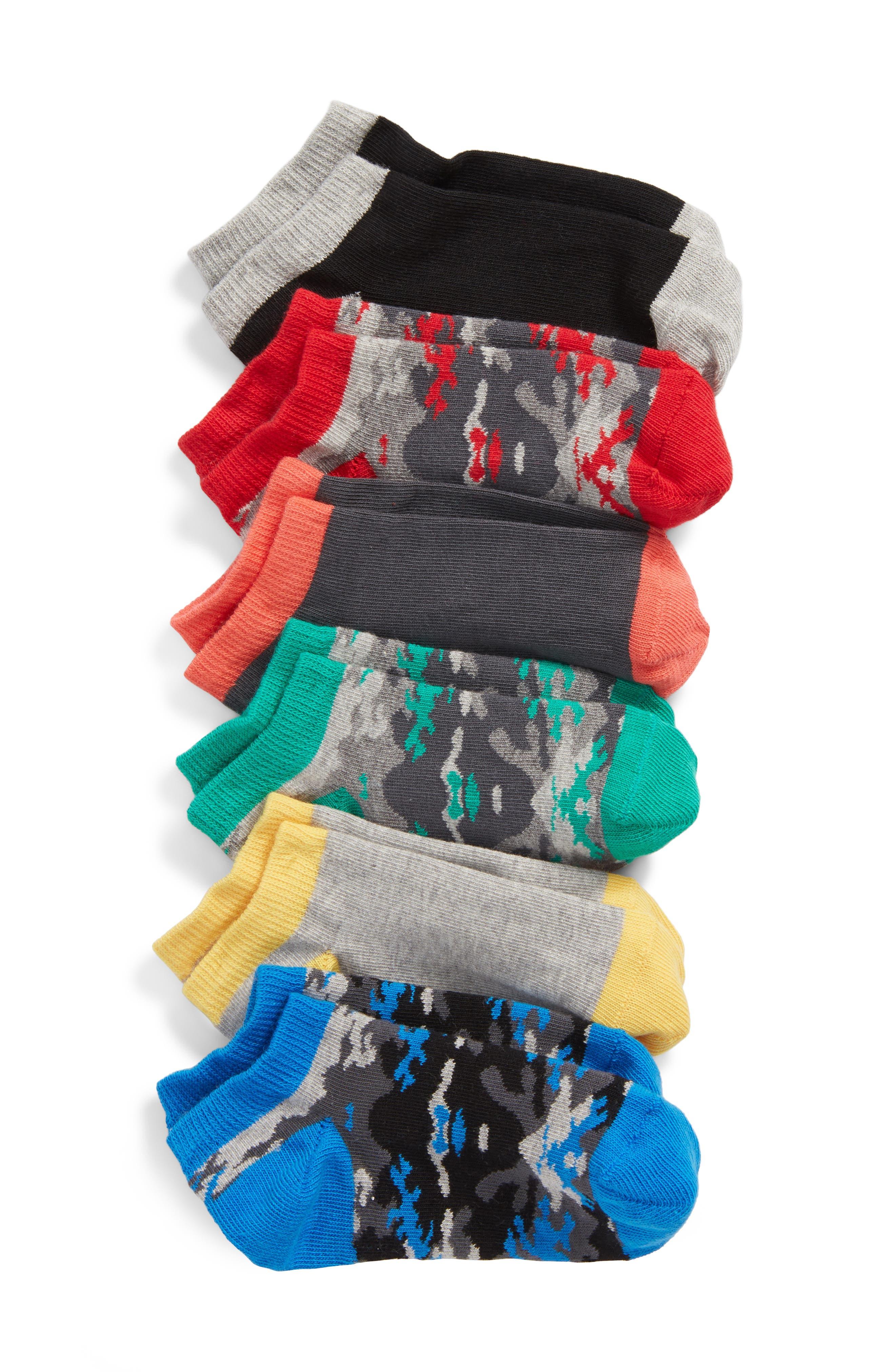 6-Pack Low Cut Socks,                             Main thumbnail 1, color,                             BLACK RAVEN MULTI
