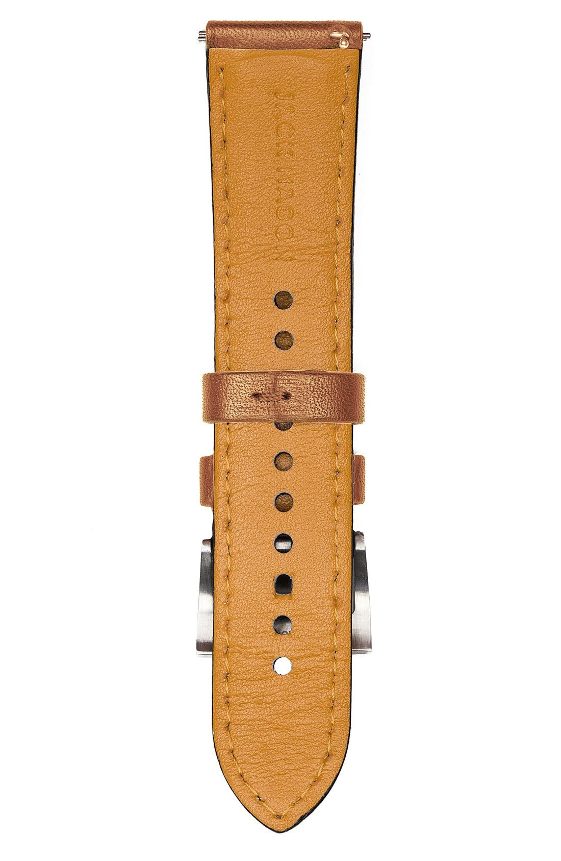 Leather Watch Strap, 22mm,                             Alternate thumbnail 3, color,                             TAN