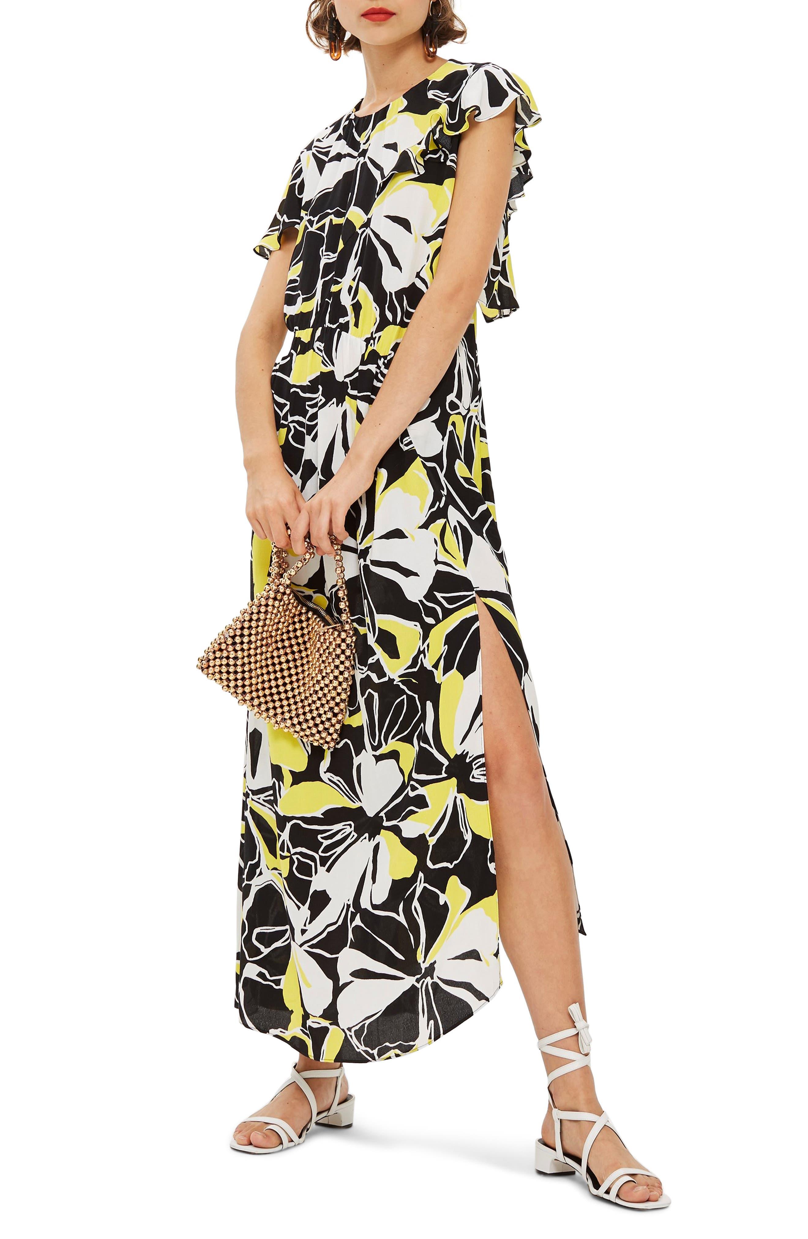 Deconstructed Floral Print Maxi Dress,                             Main thumbnail 1, color,                             BLACK MULTI