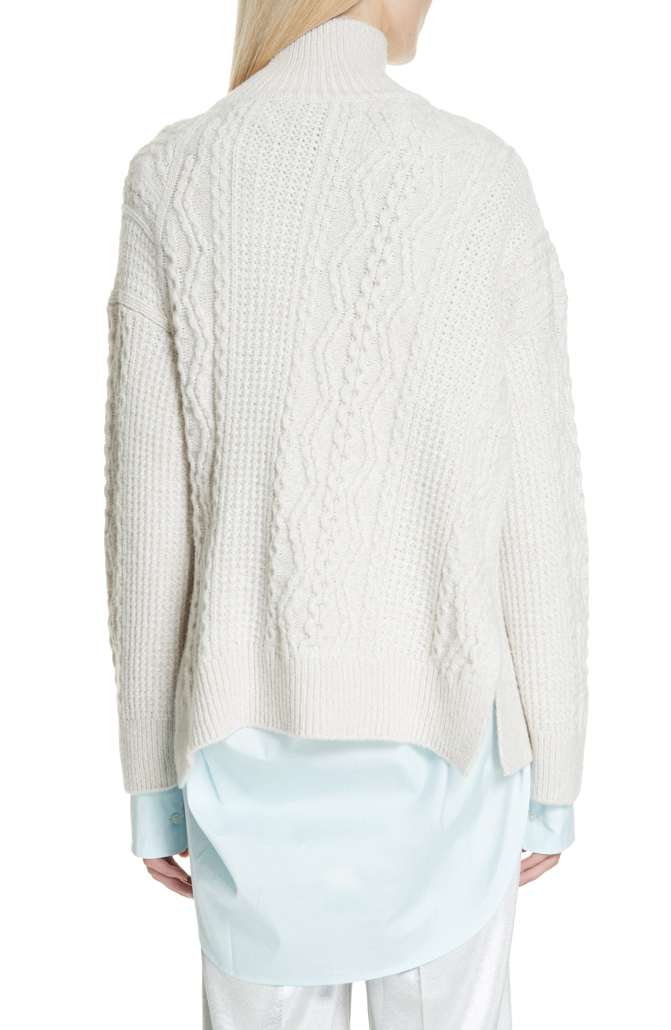 Diagonal Cable Wool Blend Turtleneck Sweater,                             Alternate thumbnail 2, color,                             OFF WHITE/ MARZIPAN