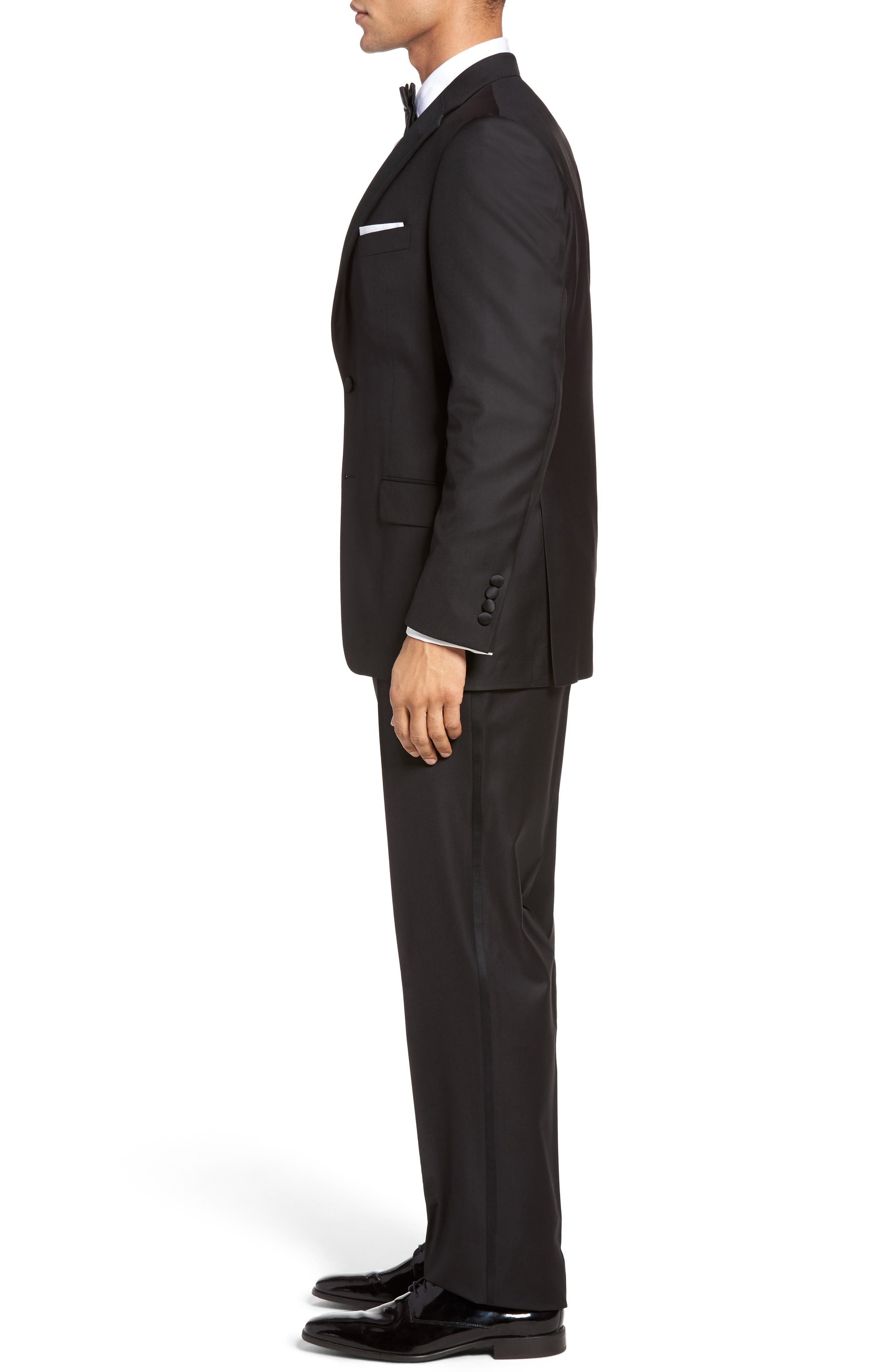 Classic B Fit Wool Tuxedo,                             Alternate thumbnail 3, color,                             BLACK