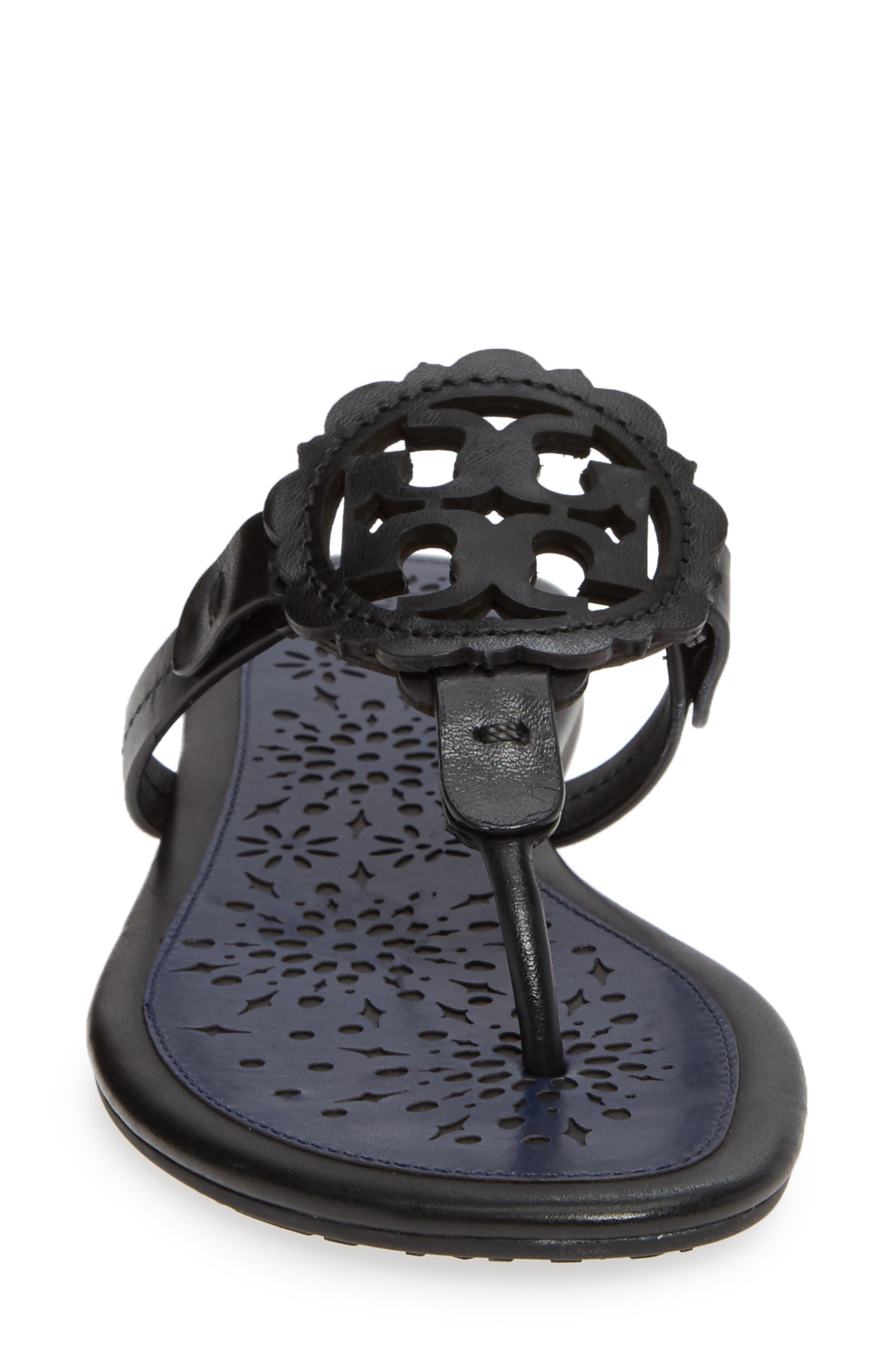 Miller Scalloped Medallion Sandal,                             Alternate thumbnail 4, color,                             PERFECT BLACK/ PERFECT NAVY