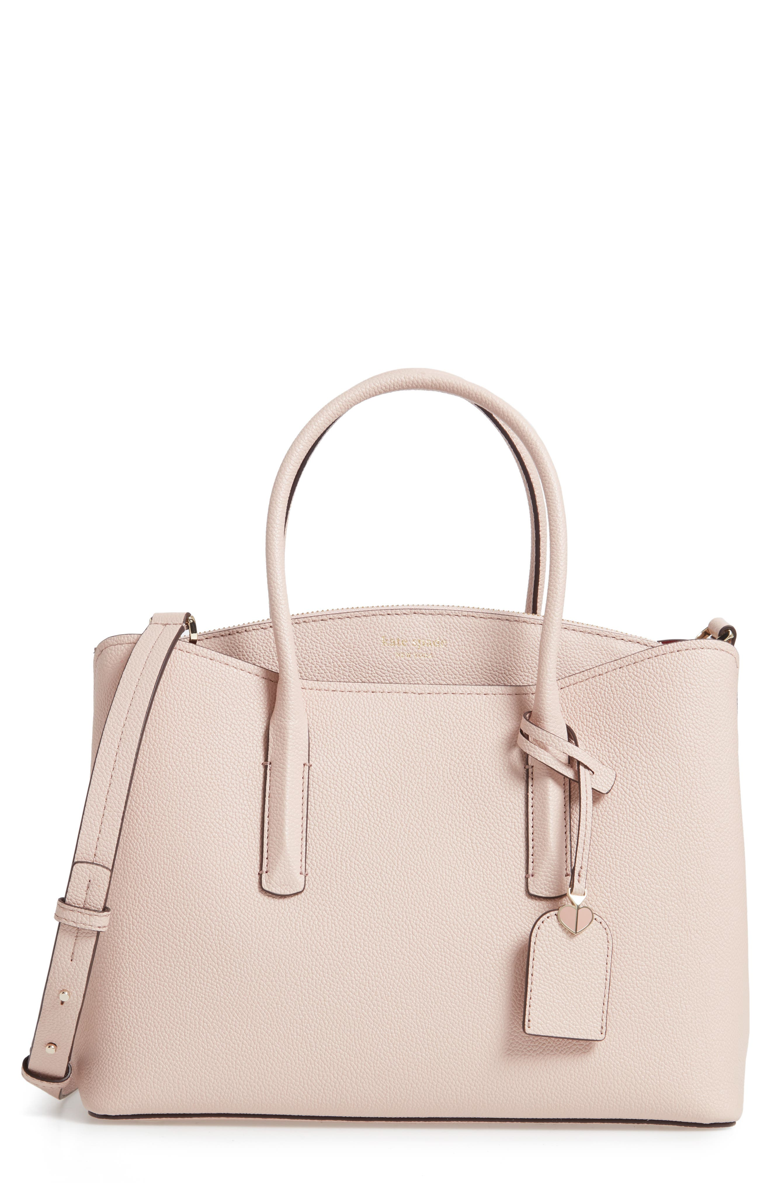 Large Margaux Leather Satchel - Pink in Pale Vellum
