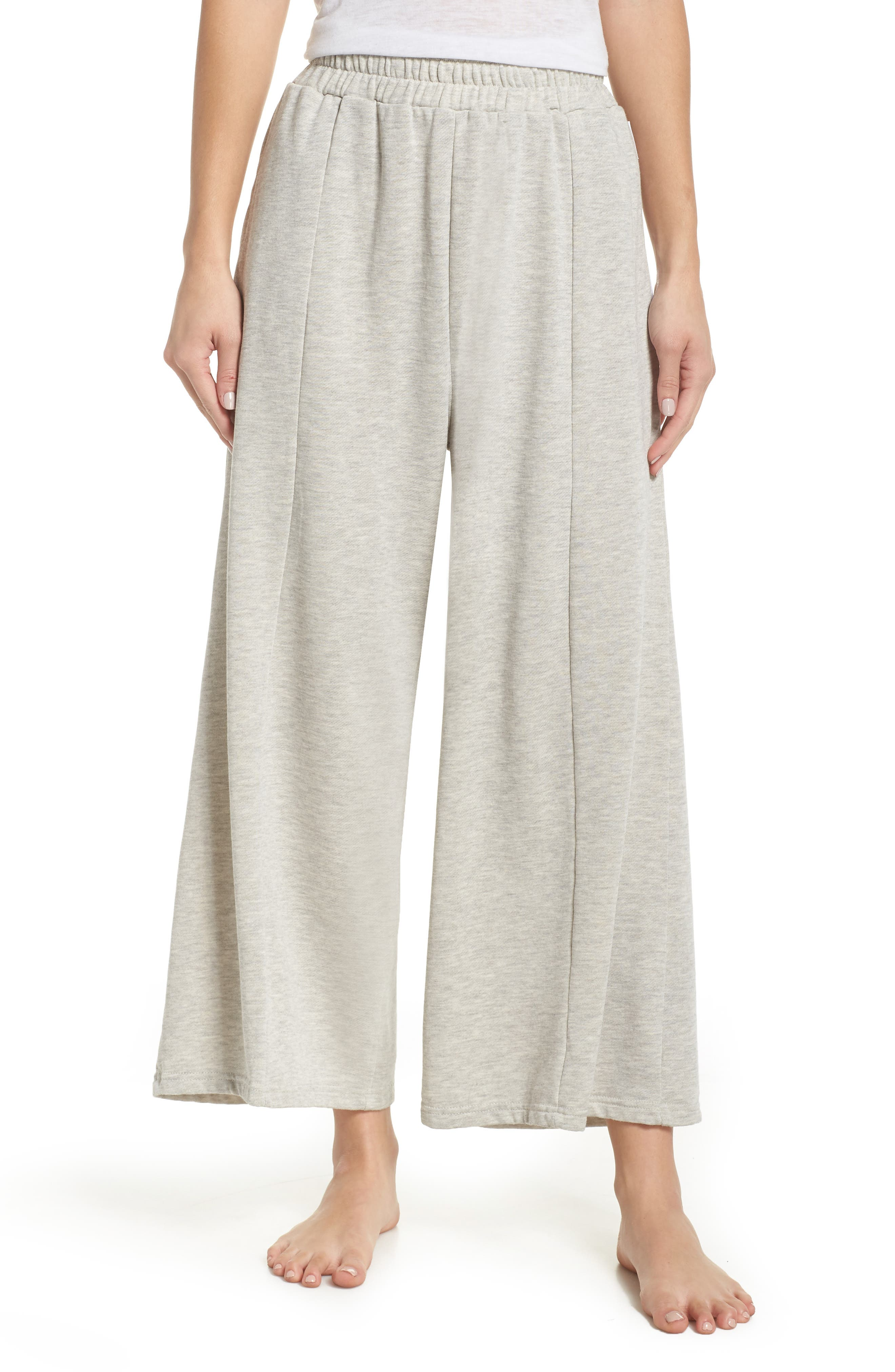THE LAUNDRY ROOM Flare Leg Crop Pants in Pebble Heather