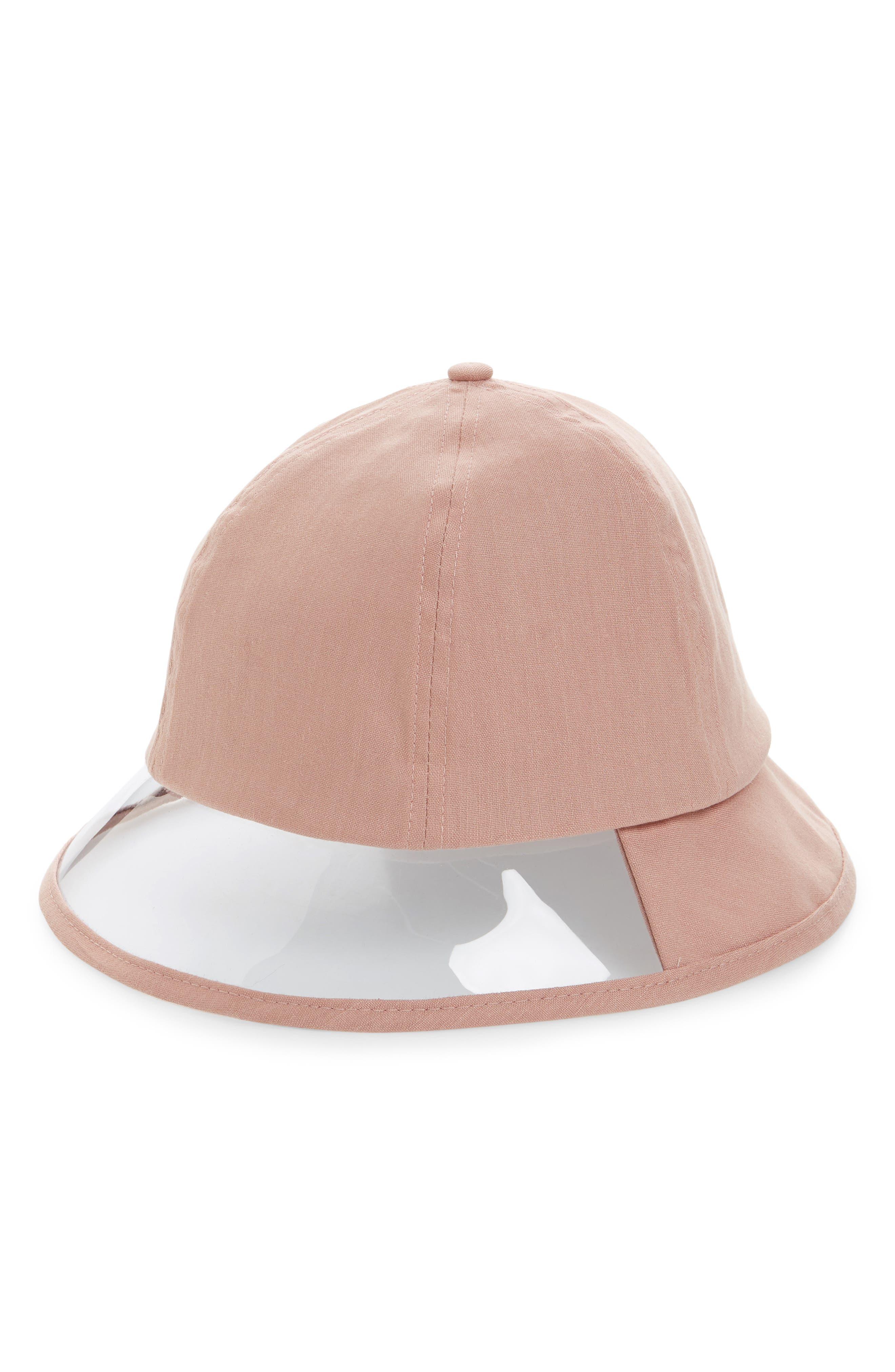 Transparent Panel Canvas Bucket Hat - Pink in Blush