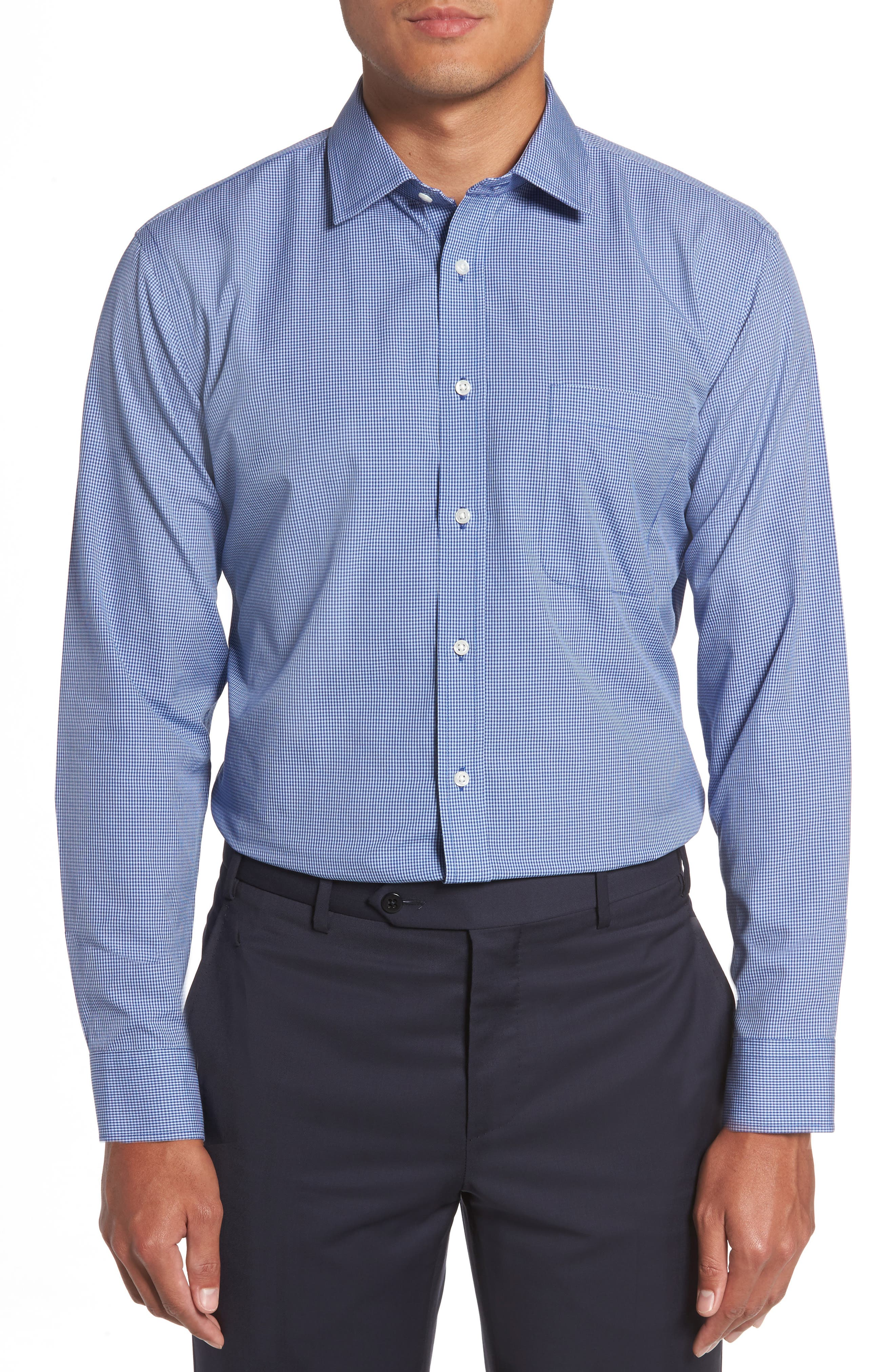 Smartcare<sup>™</sup> Trim Fit Check Dress Shirt,                             Main thumbnail 1, color,