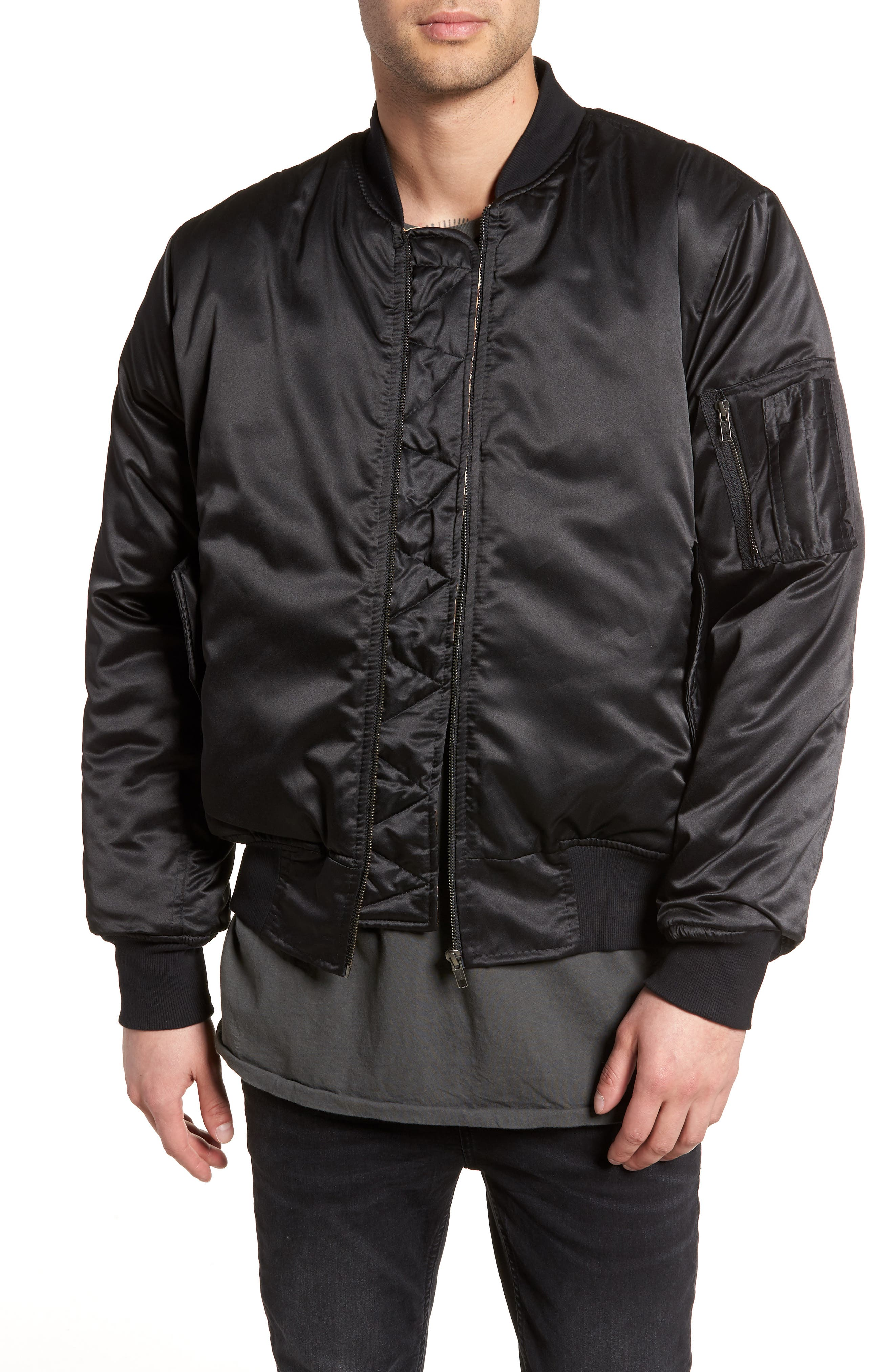 Maverick Reversible Bomber Jacket,                             Main thumbnail 1, color,                             BLACK/ JUNGLE CAT