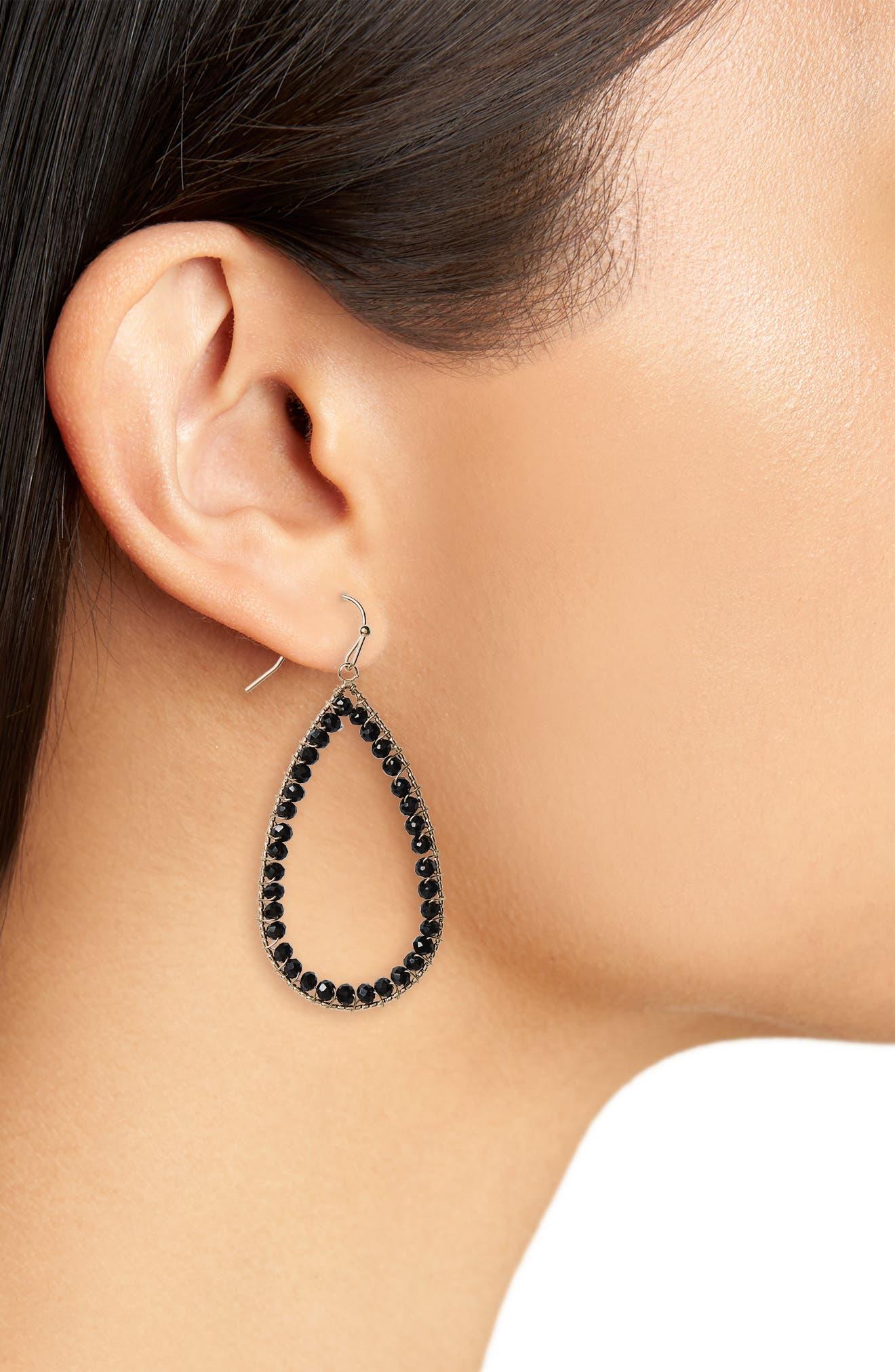 Teardrop Earrings,                             Alternate thumbnail 2, color,                             001