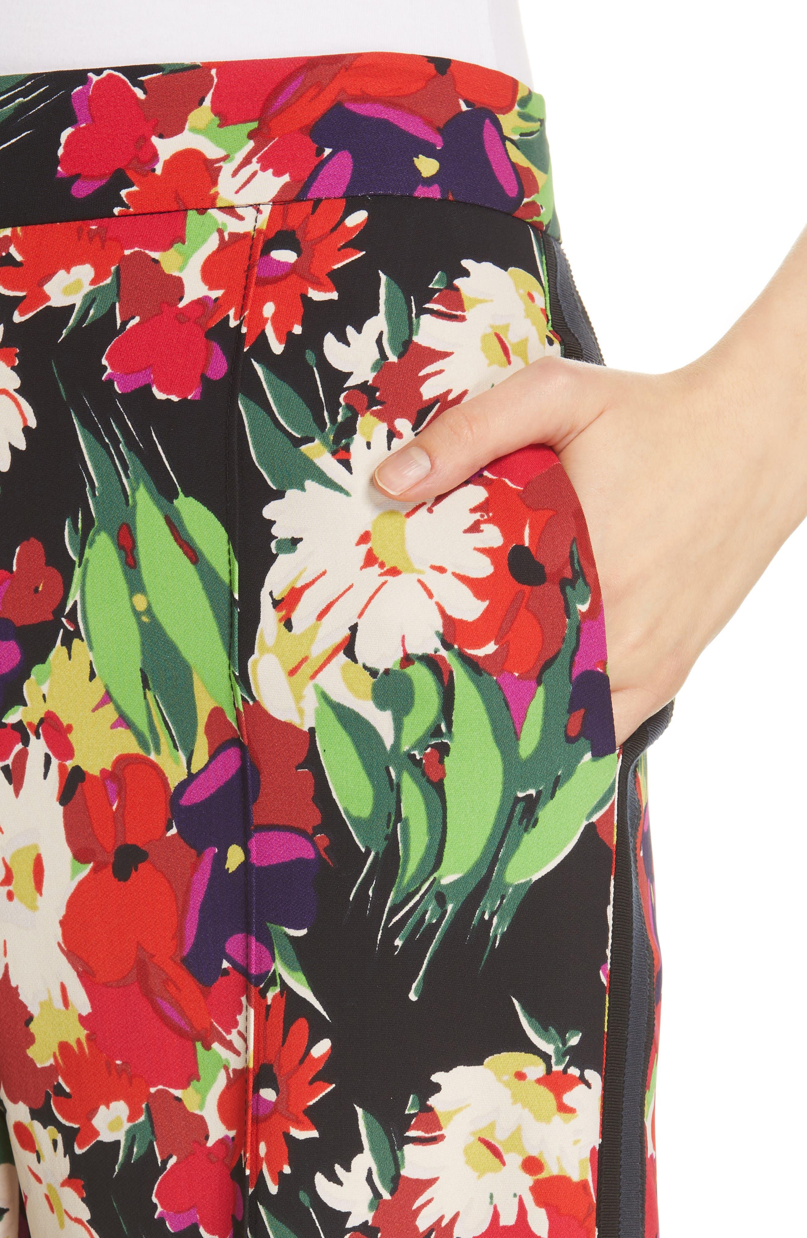 VERONICA BEARD,                             Grigore Floral Print Wide Leg Pants,                             Alternate thumbnail 4, color,                             BLACK MULTI