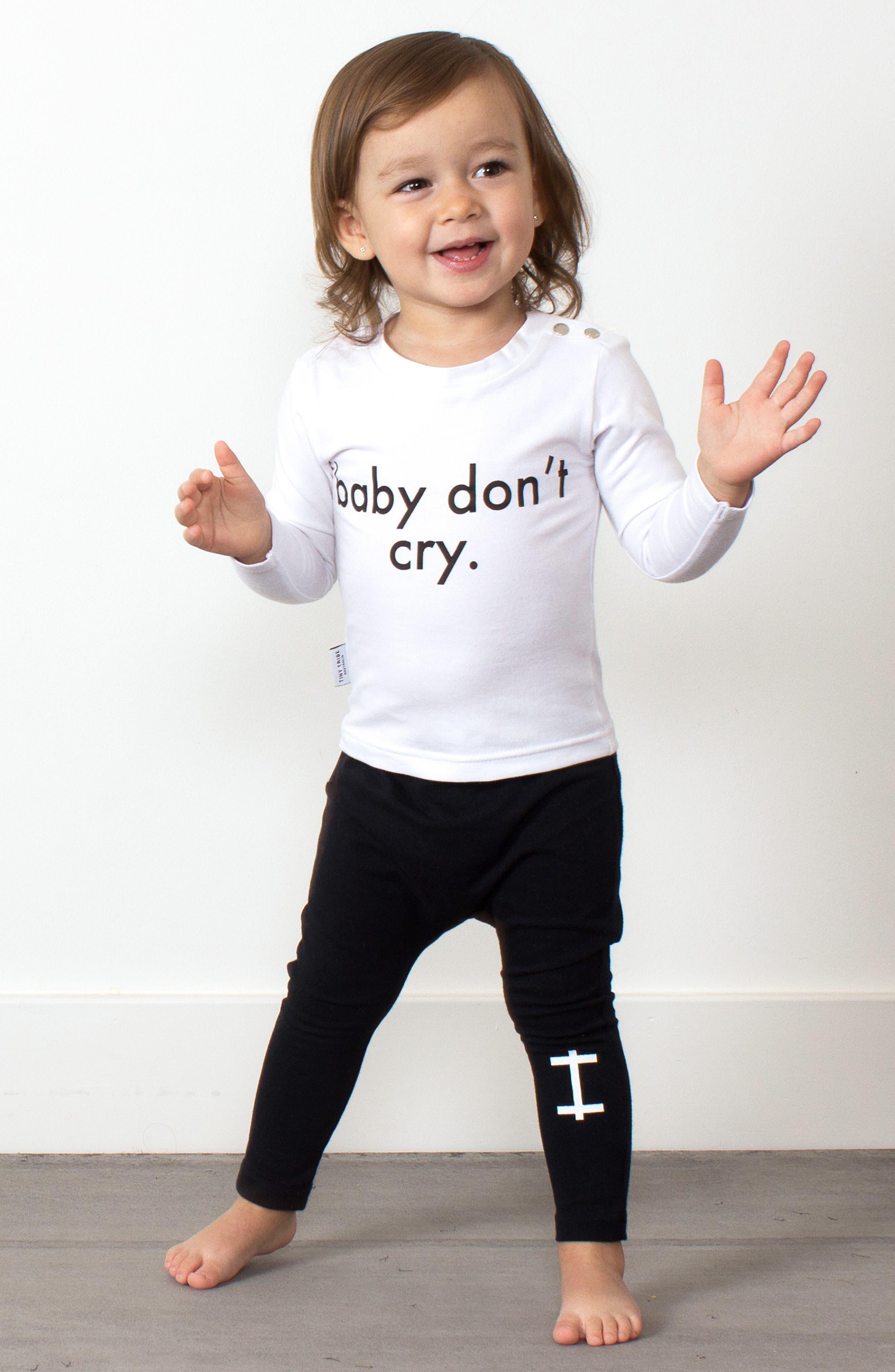 Baby Don't Cry Tee & Leggings Set,                             Alternate thumbnail 3, color,                             WHITE/ BLACK