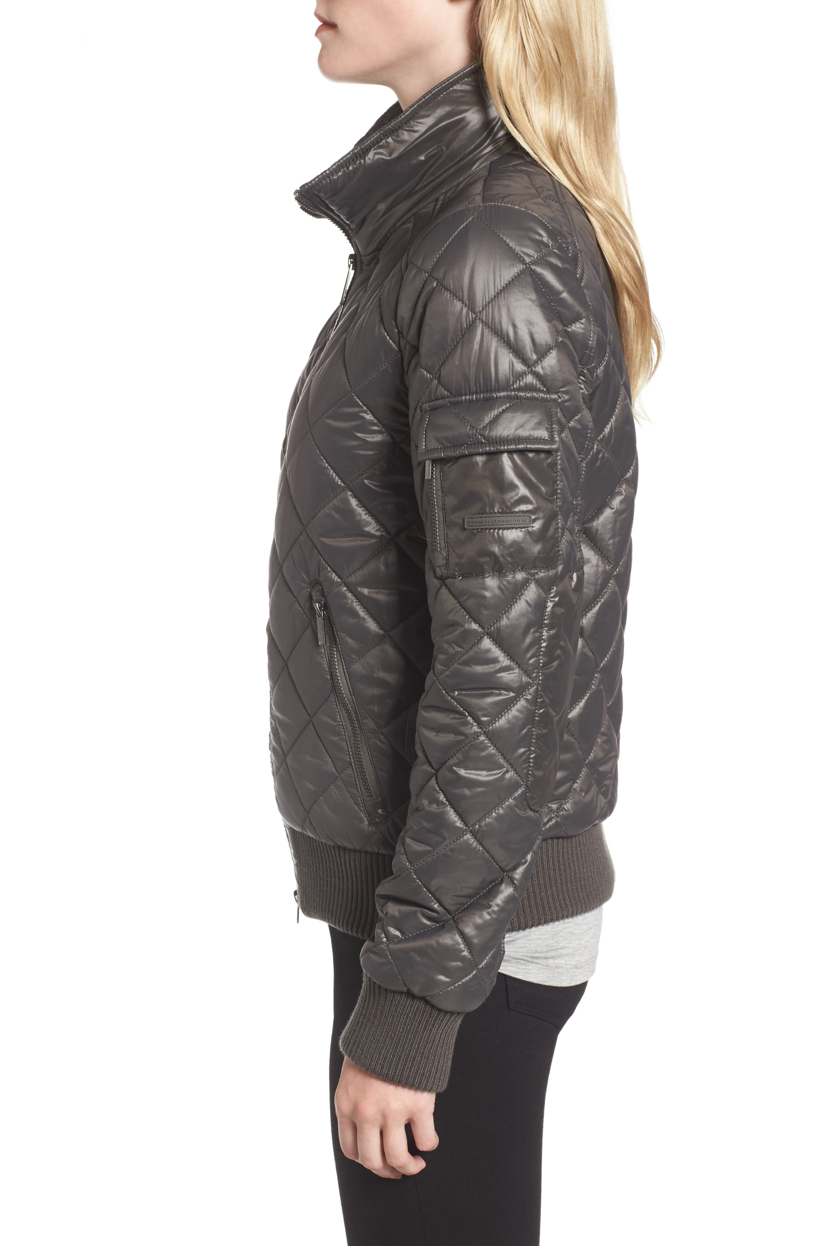 Quilted Bomber Jacket,                             Alternate thumbnail 3, color,                             038