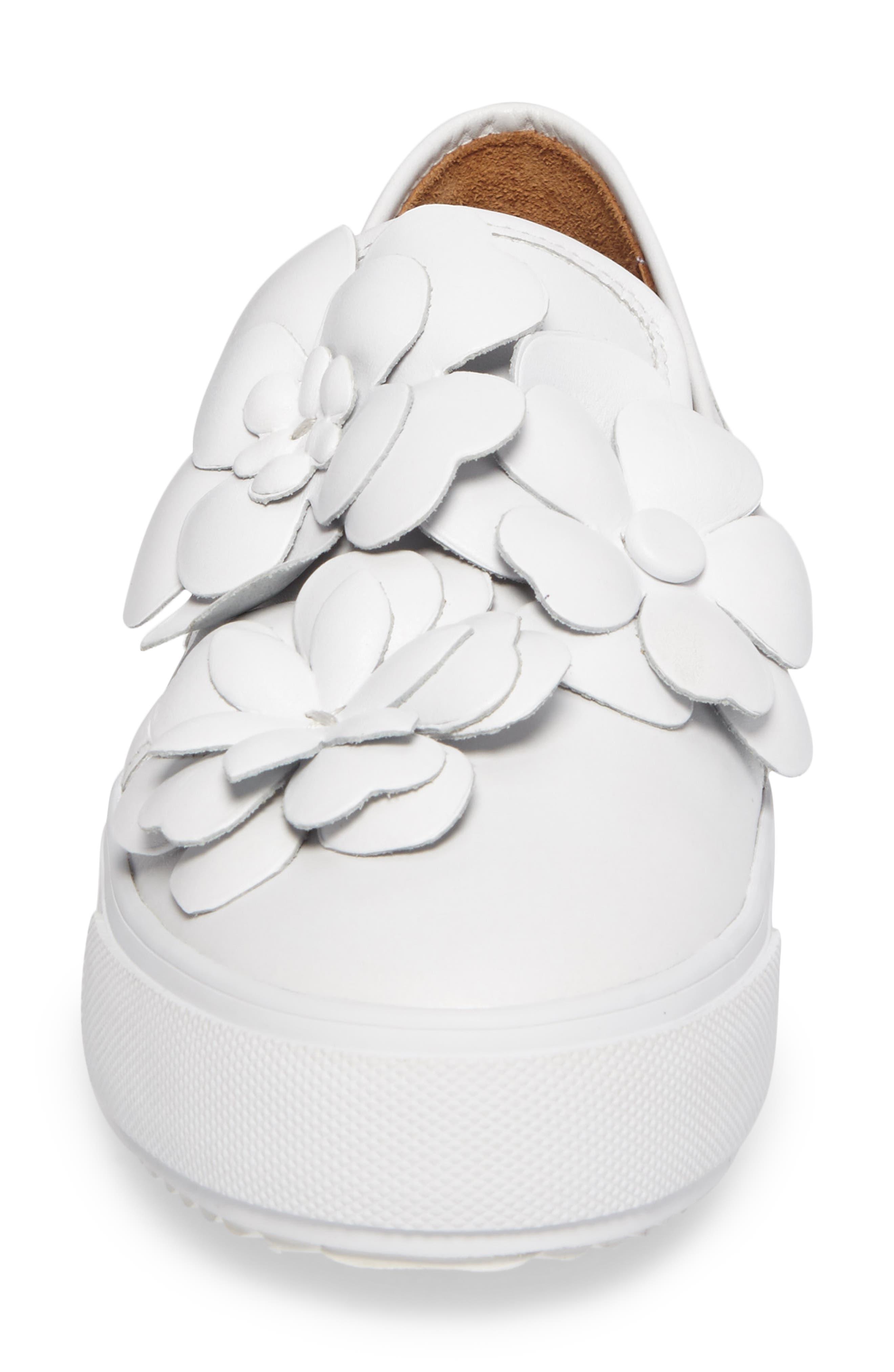 Vera Floral Appliqué Slip-On Sneaker,                             Alternate thumbnail 4, color,                             WHITE