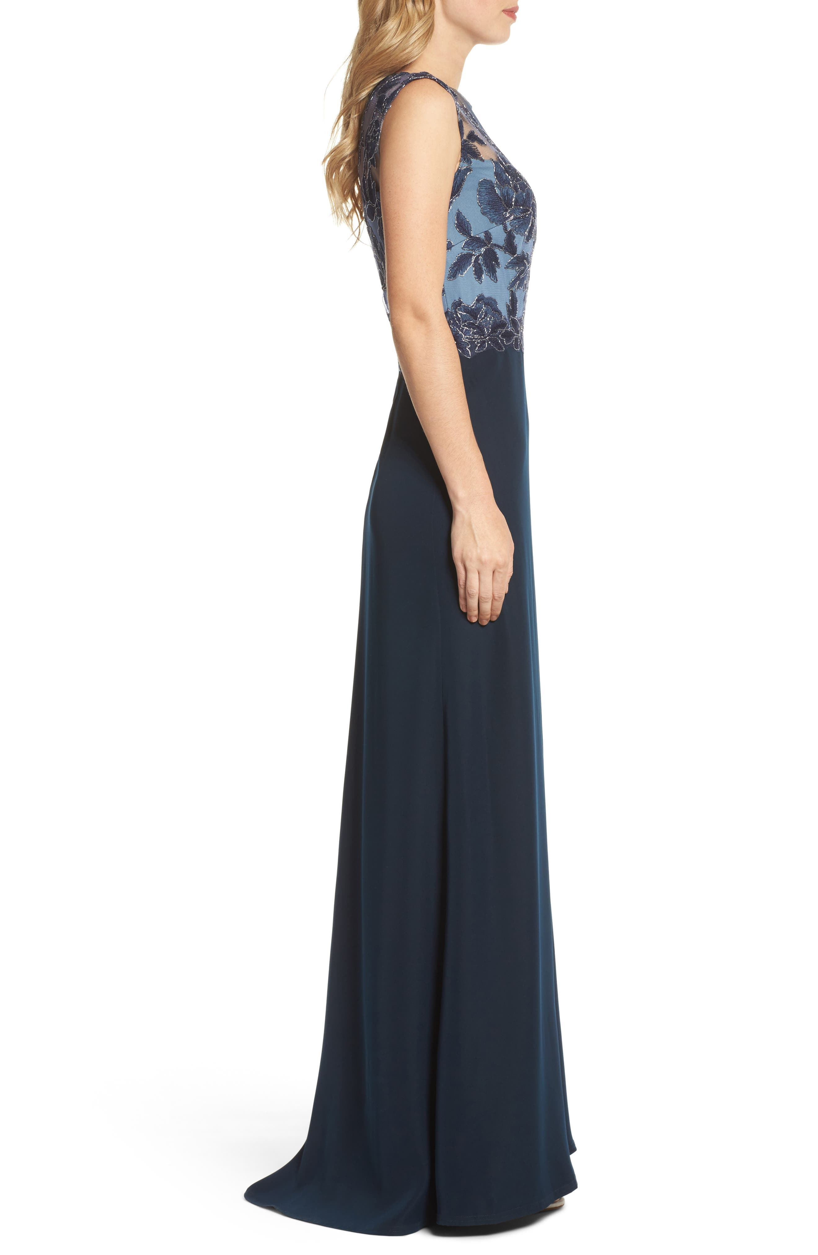 Embroidered Mesh & Crepe Gown,                             Alternate thumbnail 3, color,                             466