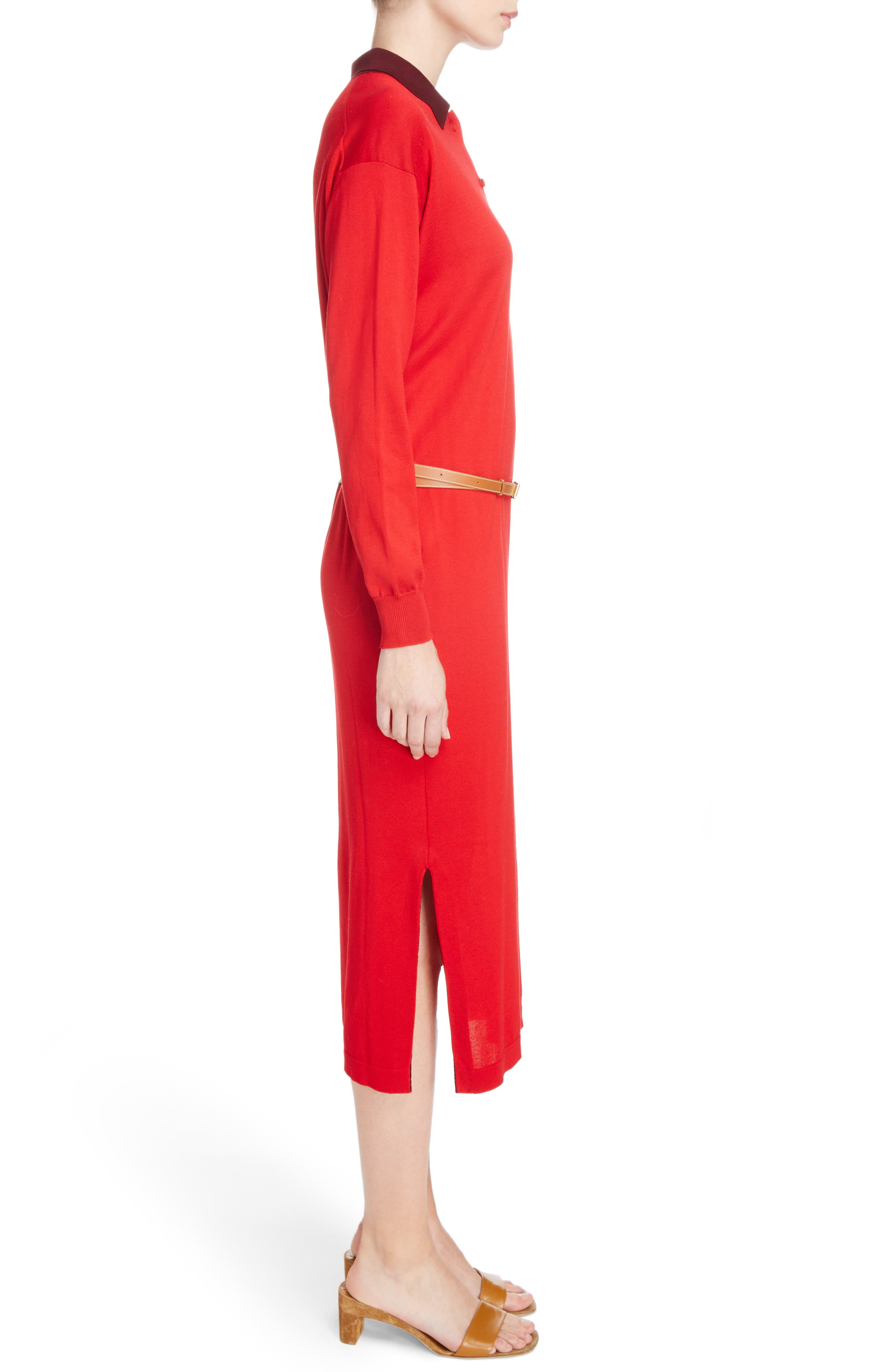 Belted Polo Dress,                             Alternate thumbnail 3, color,                             600