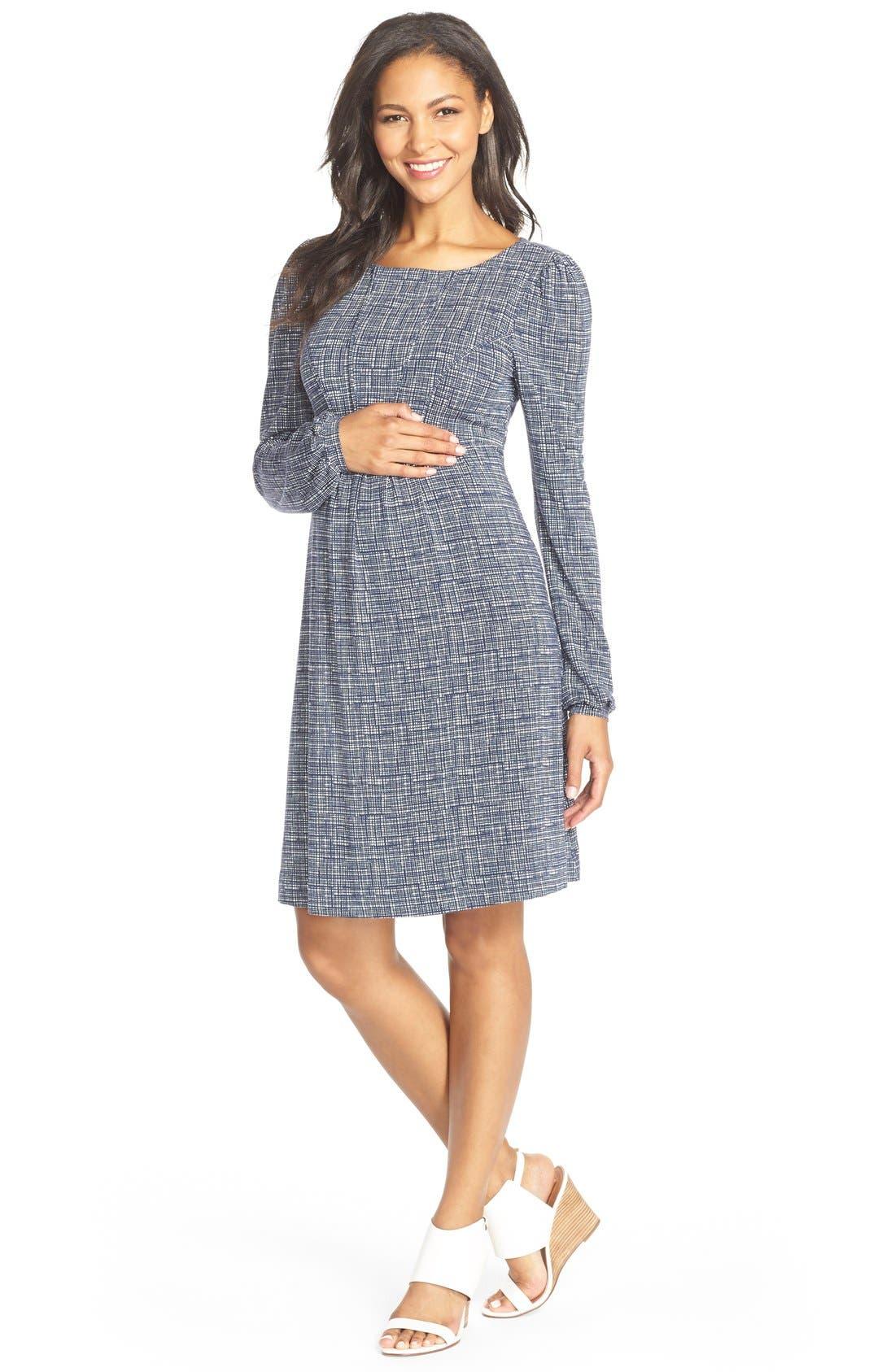 'Tatum' Geo Print Long Sleeve Maternity Dress,                             Main thumbnail 1, color,                             411