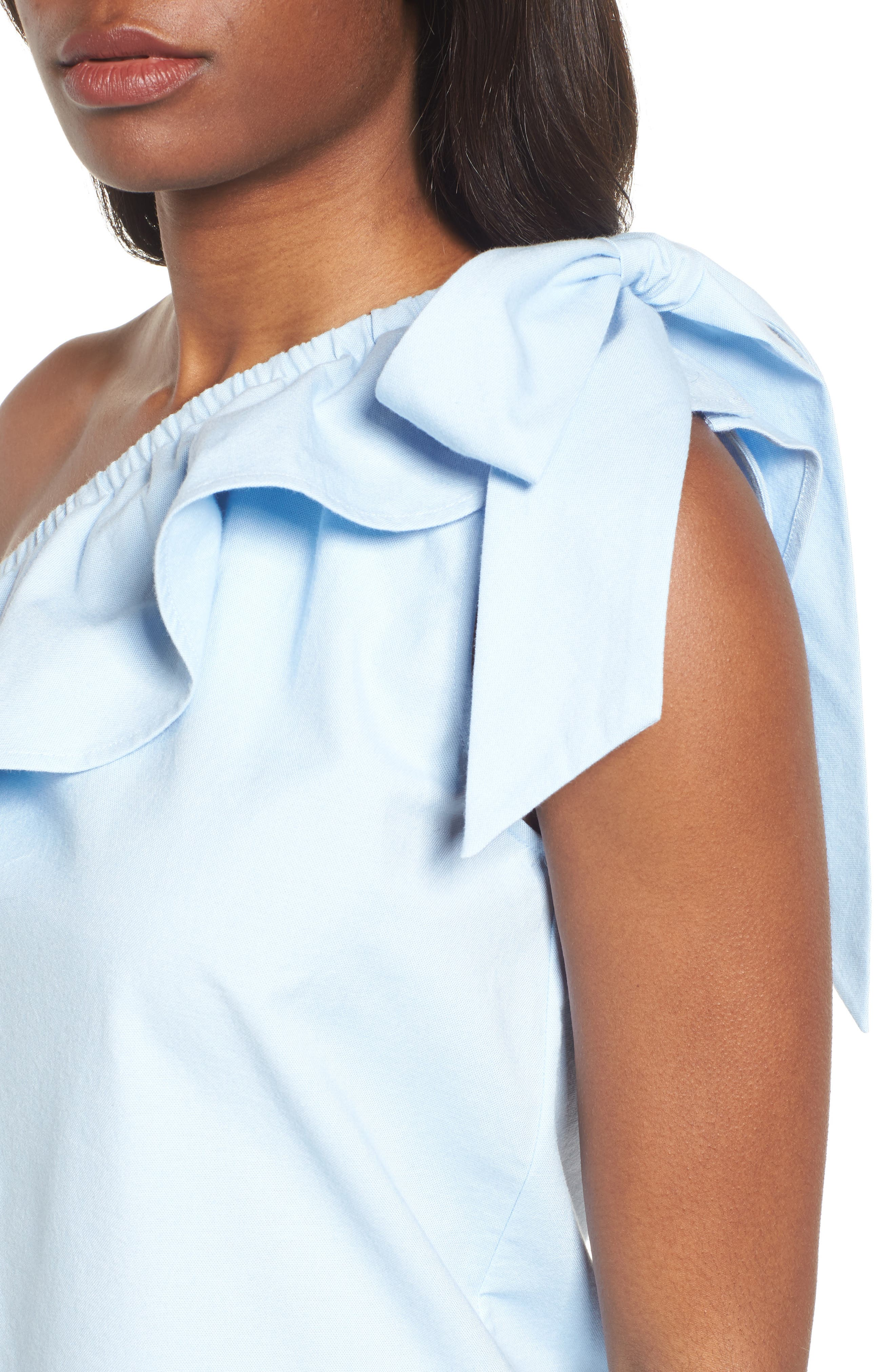 One-Shoulder Bow Top,                             Alternate thumbnail 4, color,