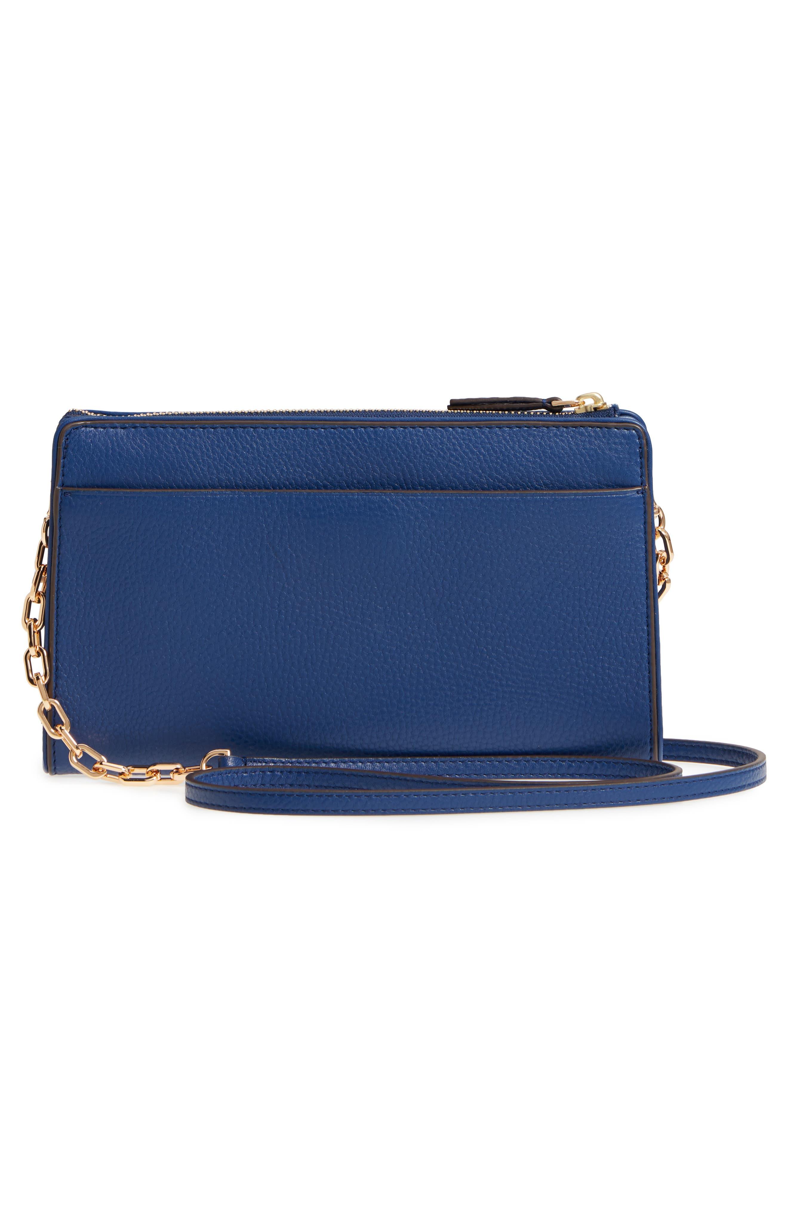 Marsden Leather Wallet Crossbody Bag,                             Alternate thumbnail 3, color,                             FRESH BLUEBERRY