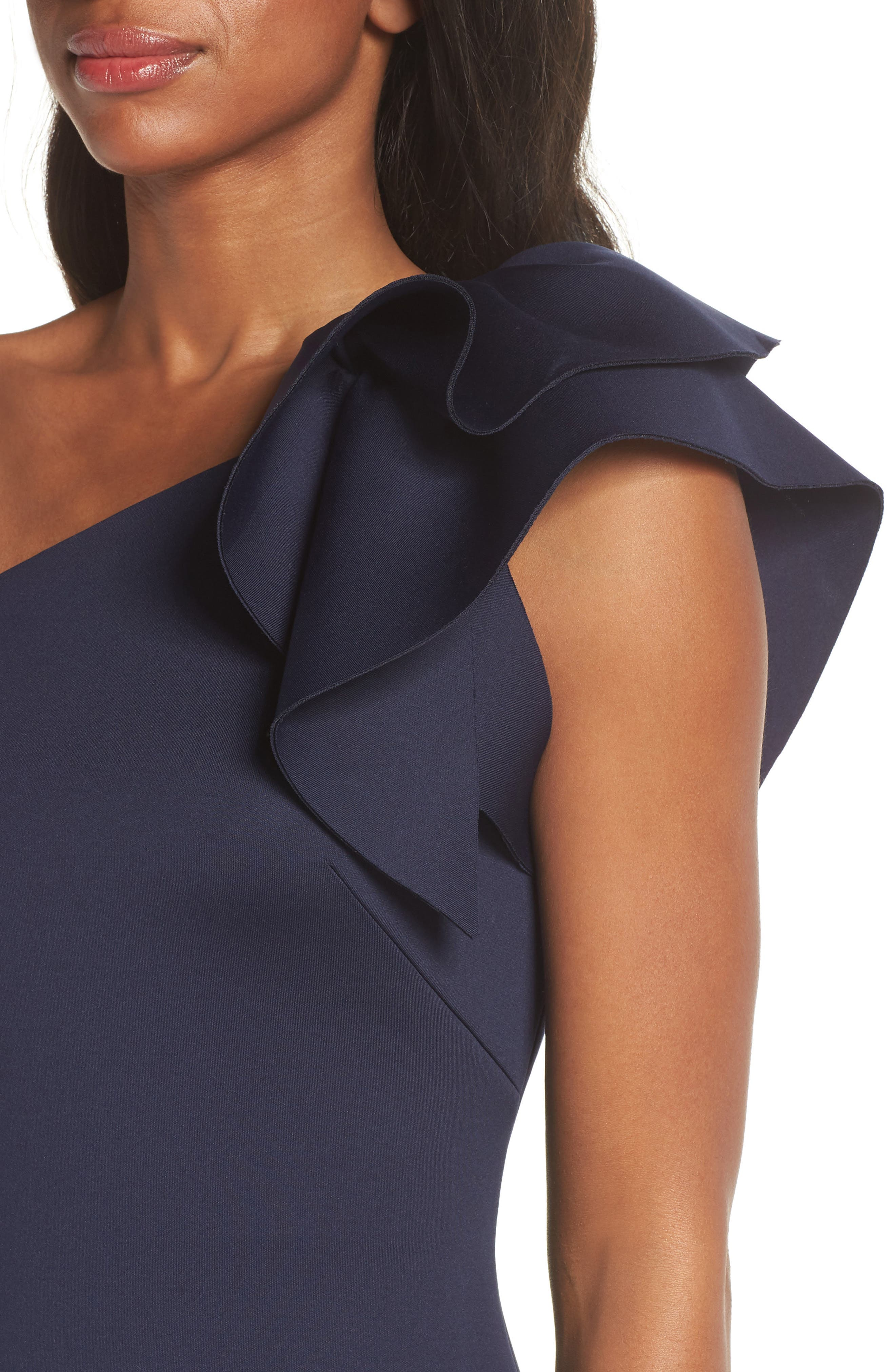 One-Shoulder Ruffle Sheath Dress,                             Alternate thumbnail 4, color,                             NAVY