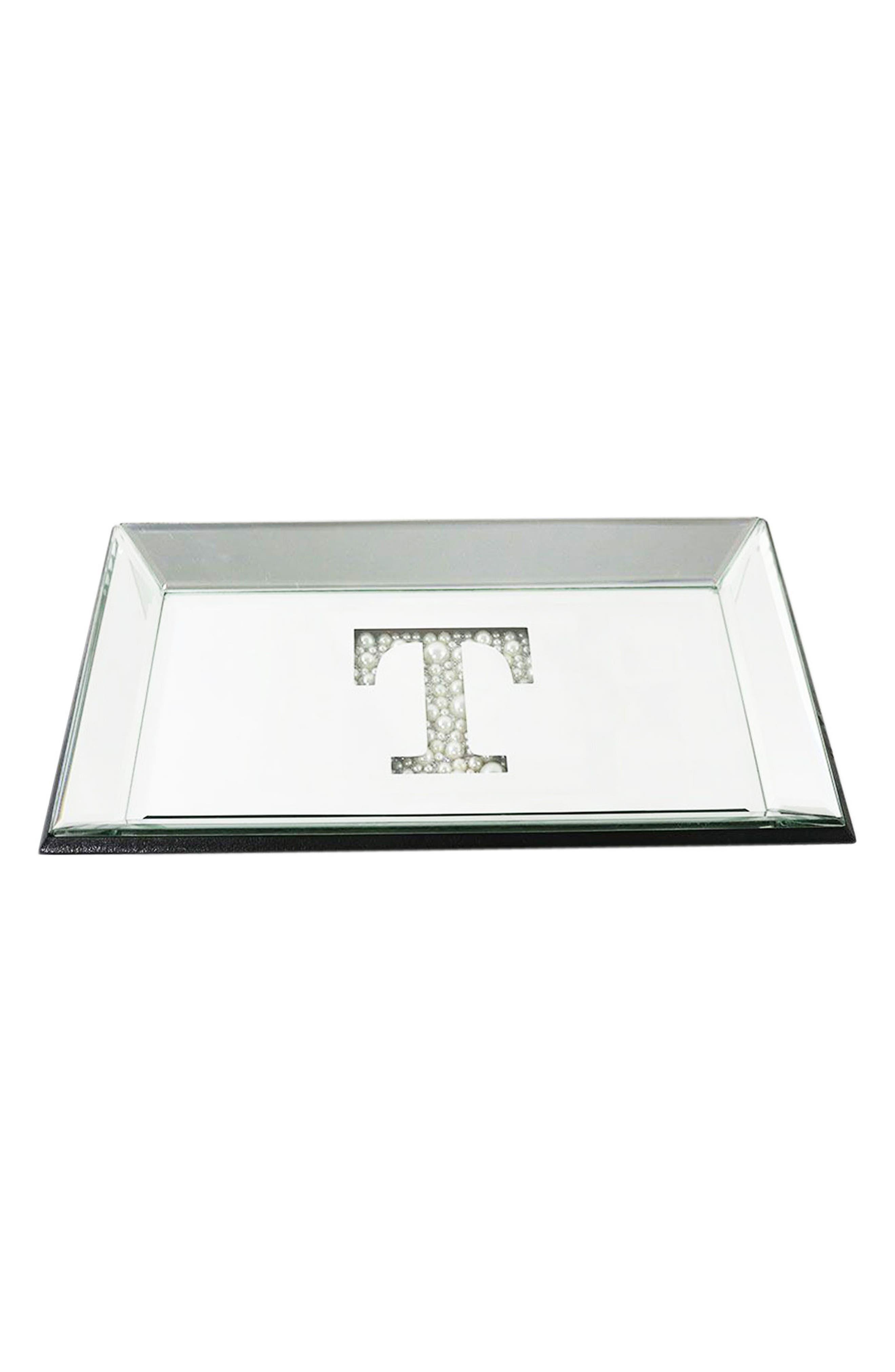 AMERICAN ATELIER,                             Imitation Pearl Monogram Mirrored Trinket Tray,                             Main thumbnail 1, color,                             040
