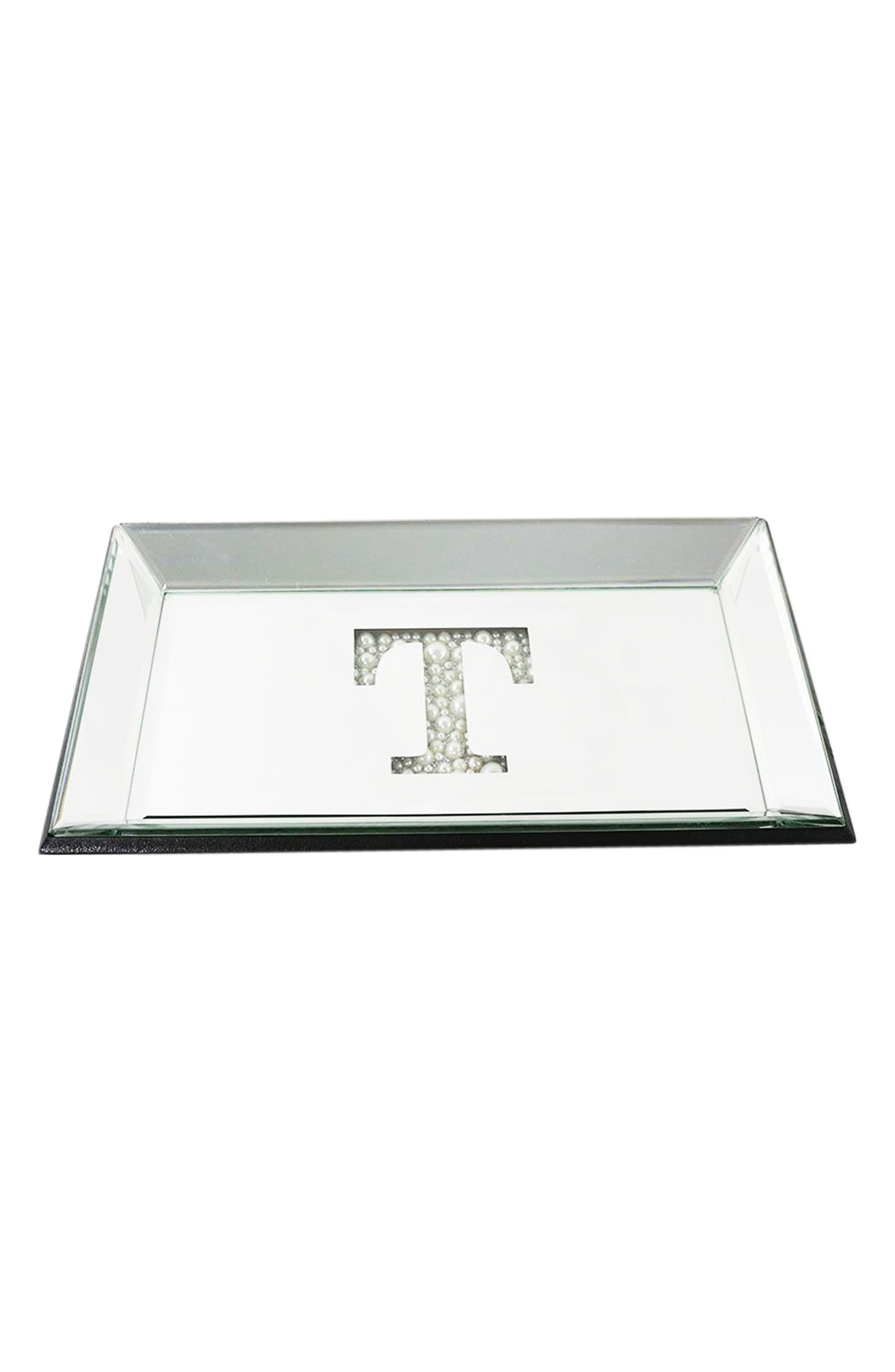 AMERICAN ATELIER Imitation Pearl Monogram Mirrored Trinket Tray, Main, color, 040