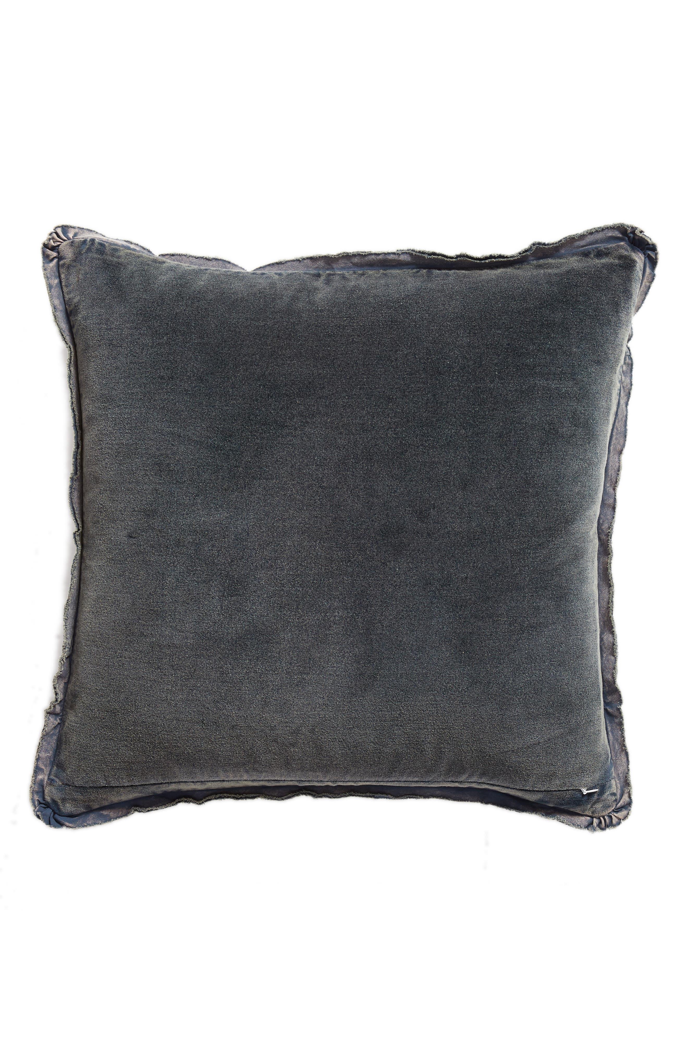 Stonewash Velvet Accent Pillow,                             Alternate thumbnail 2, color,                             NAVY BLUE