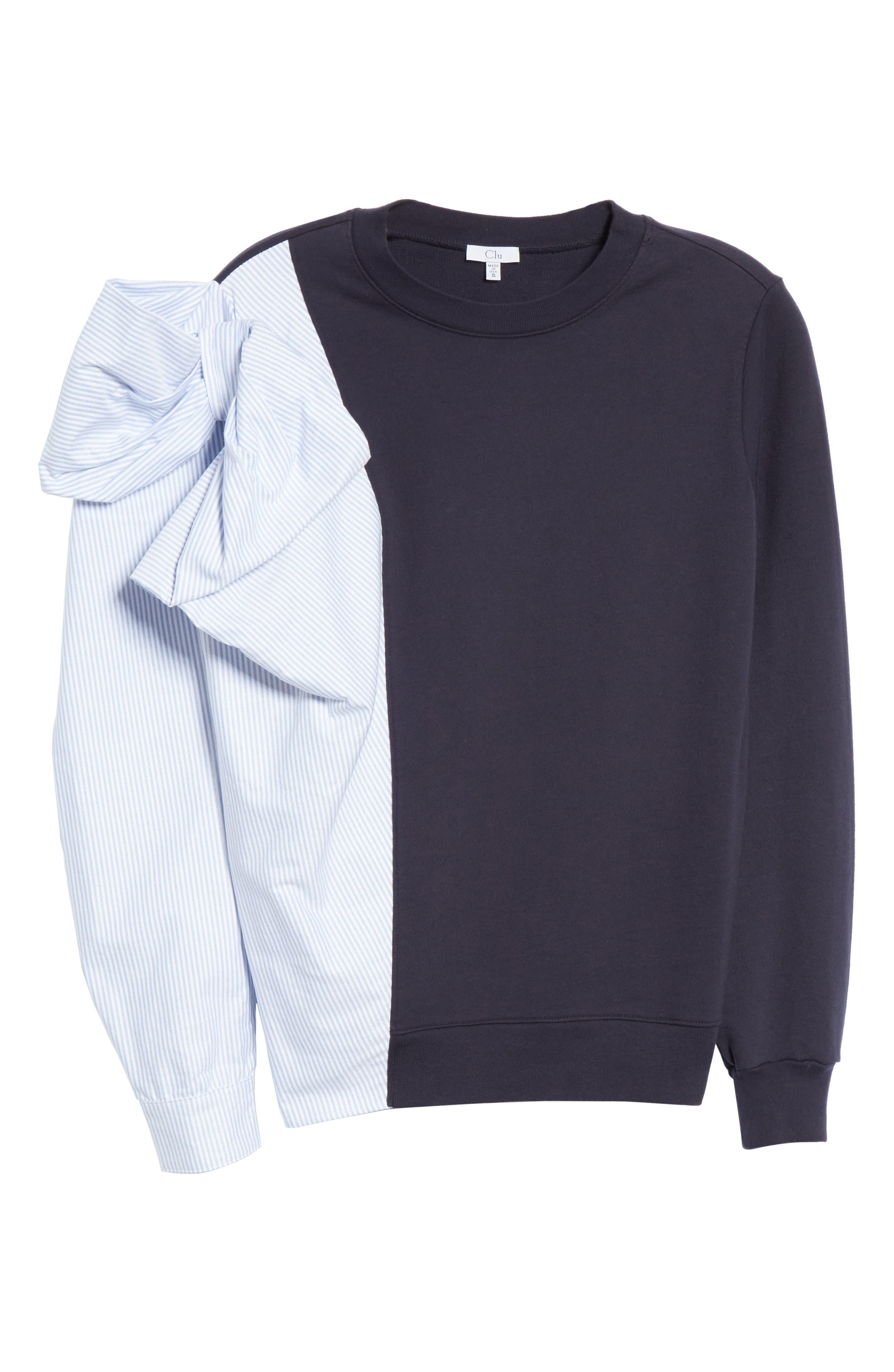 Bow Colorblock Sweatshirt,                             Alternate thumbnail 6, color,                             NAVY