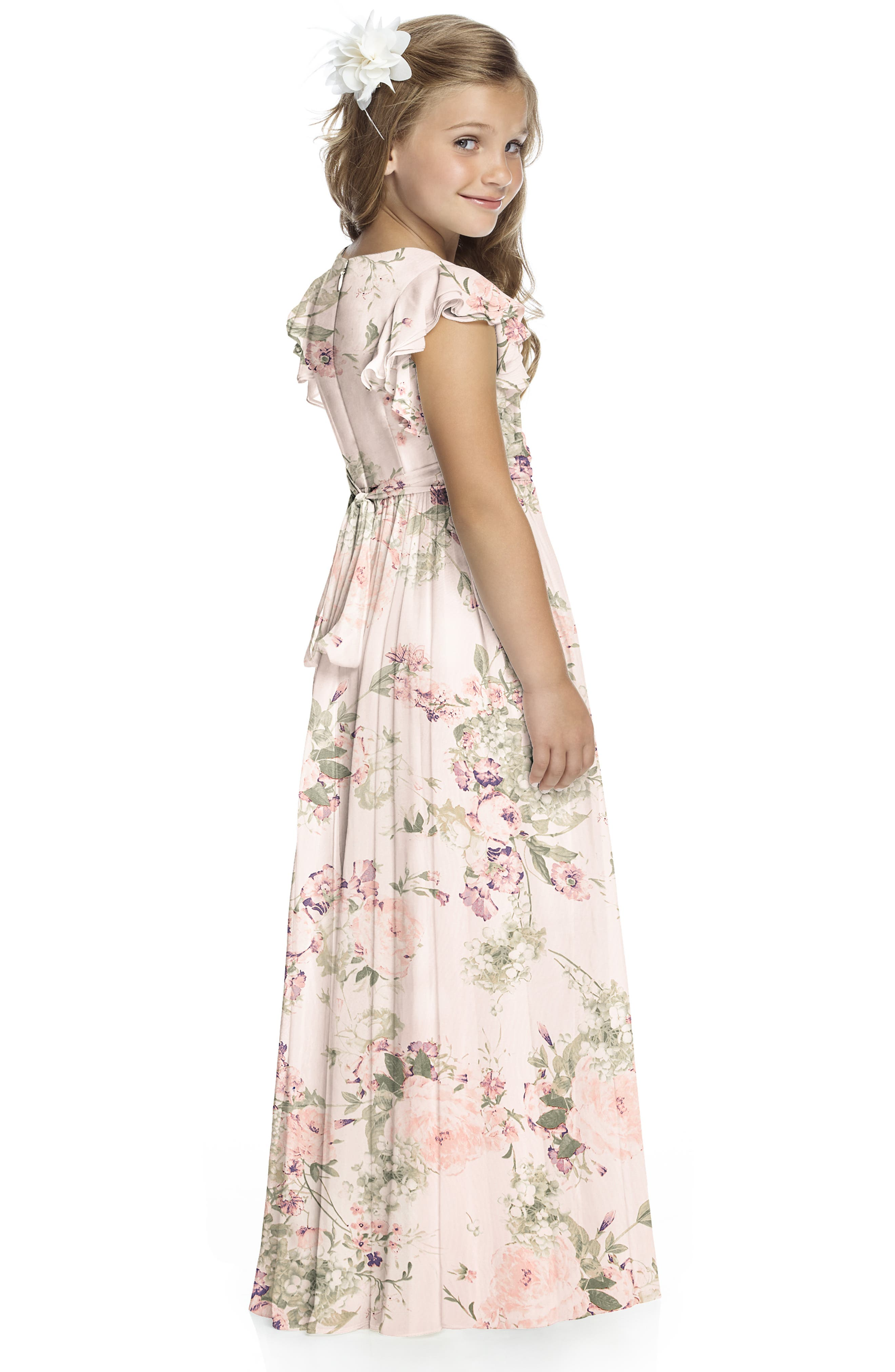 Flutter Sleeve Long Chiffon Flower Girl Dress,                             Alternate thumbnail 5, color,                             956