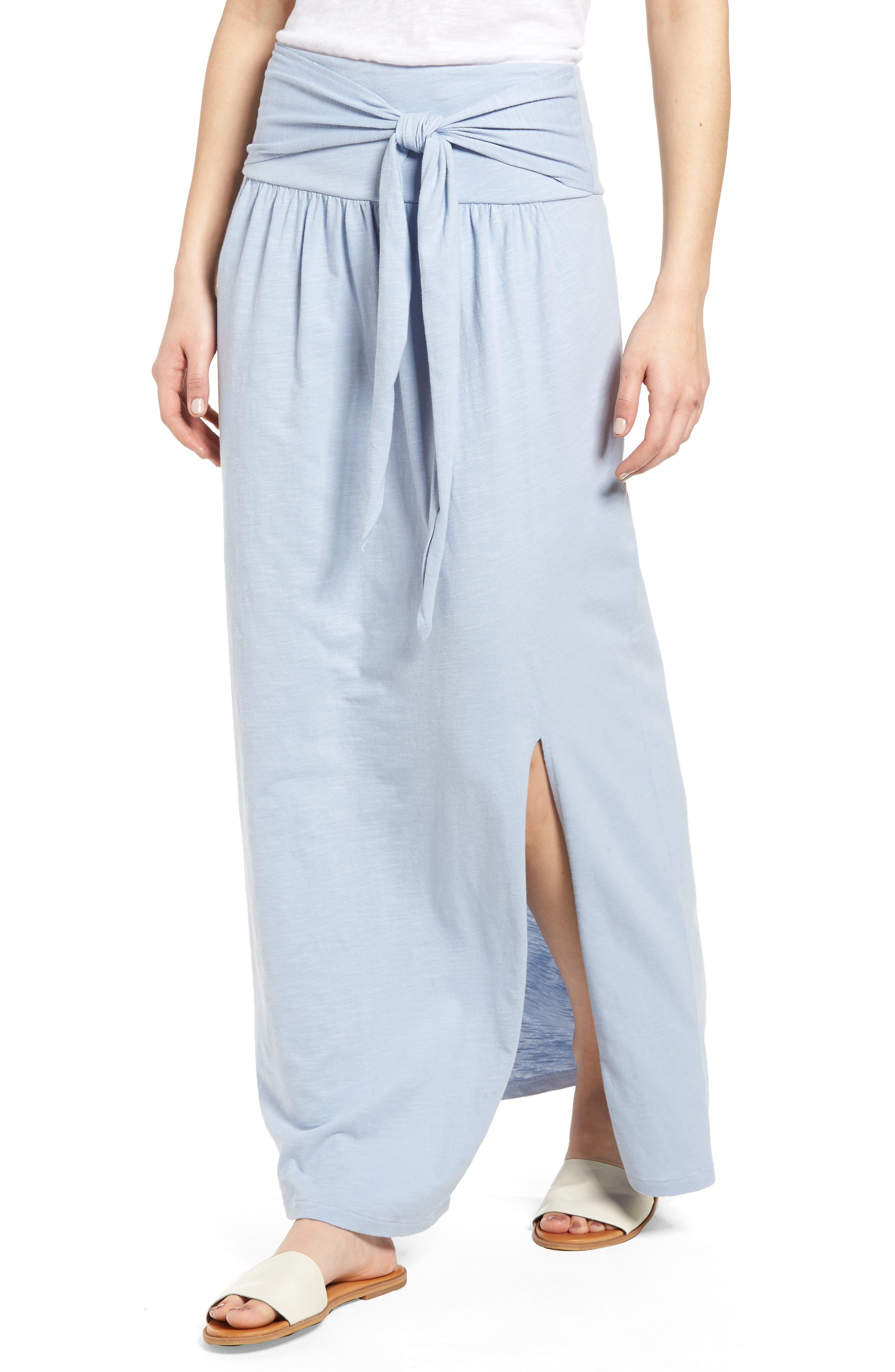 Tie Front Cotton Maxi Skirt,                             Alternate thumbnail 19, color,