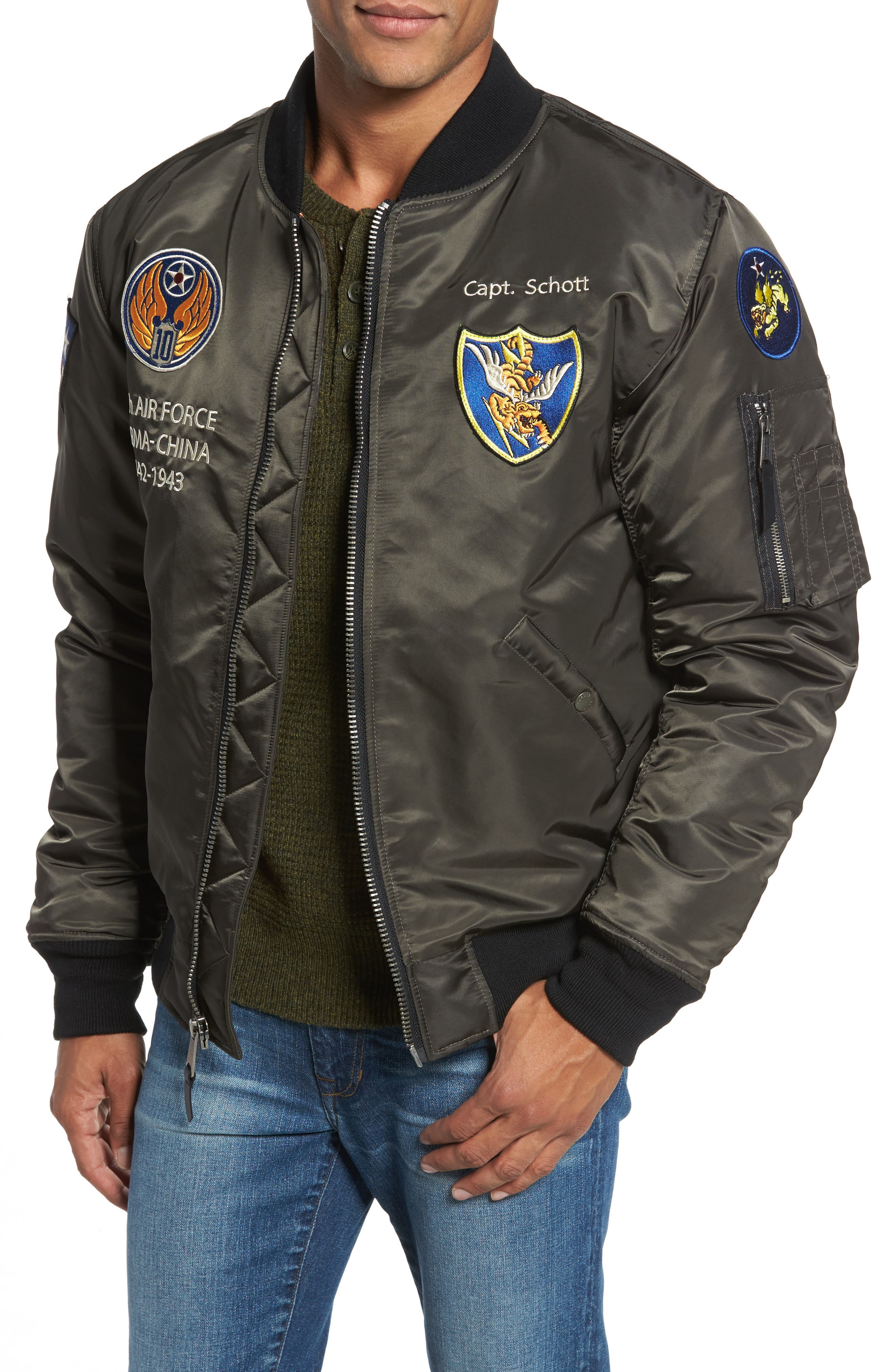 Highly Decorated Embroidered Flight Jacket,                         Main,                         color, GREY